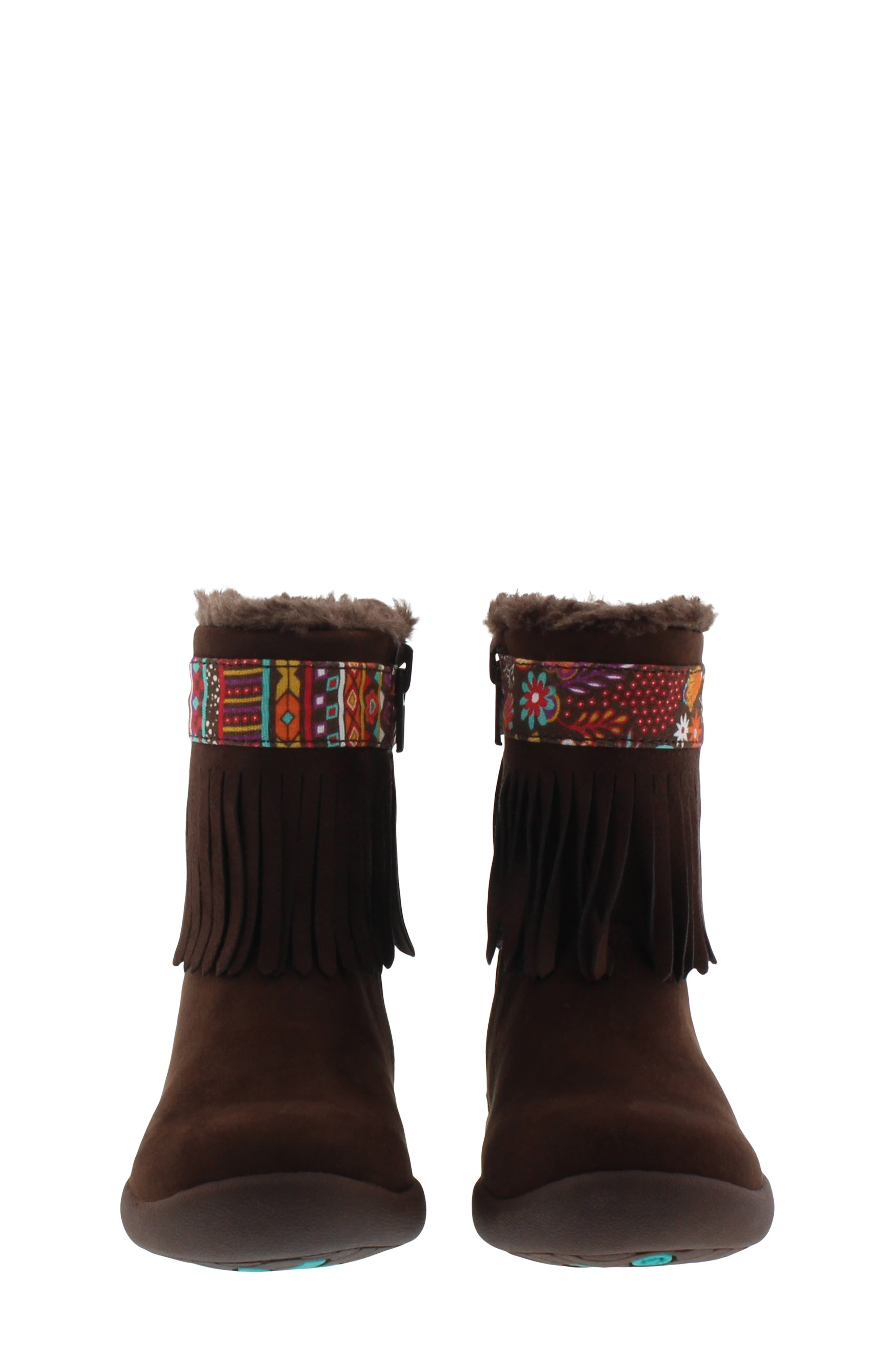 CHOOZE, Faux Fur Fringed Hope Bootie, Alternate thumbnail 4, color, BROWN