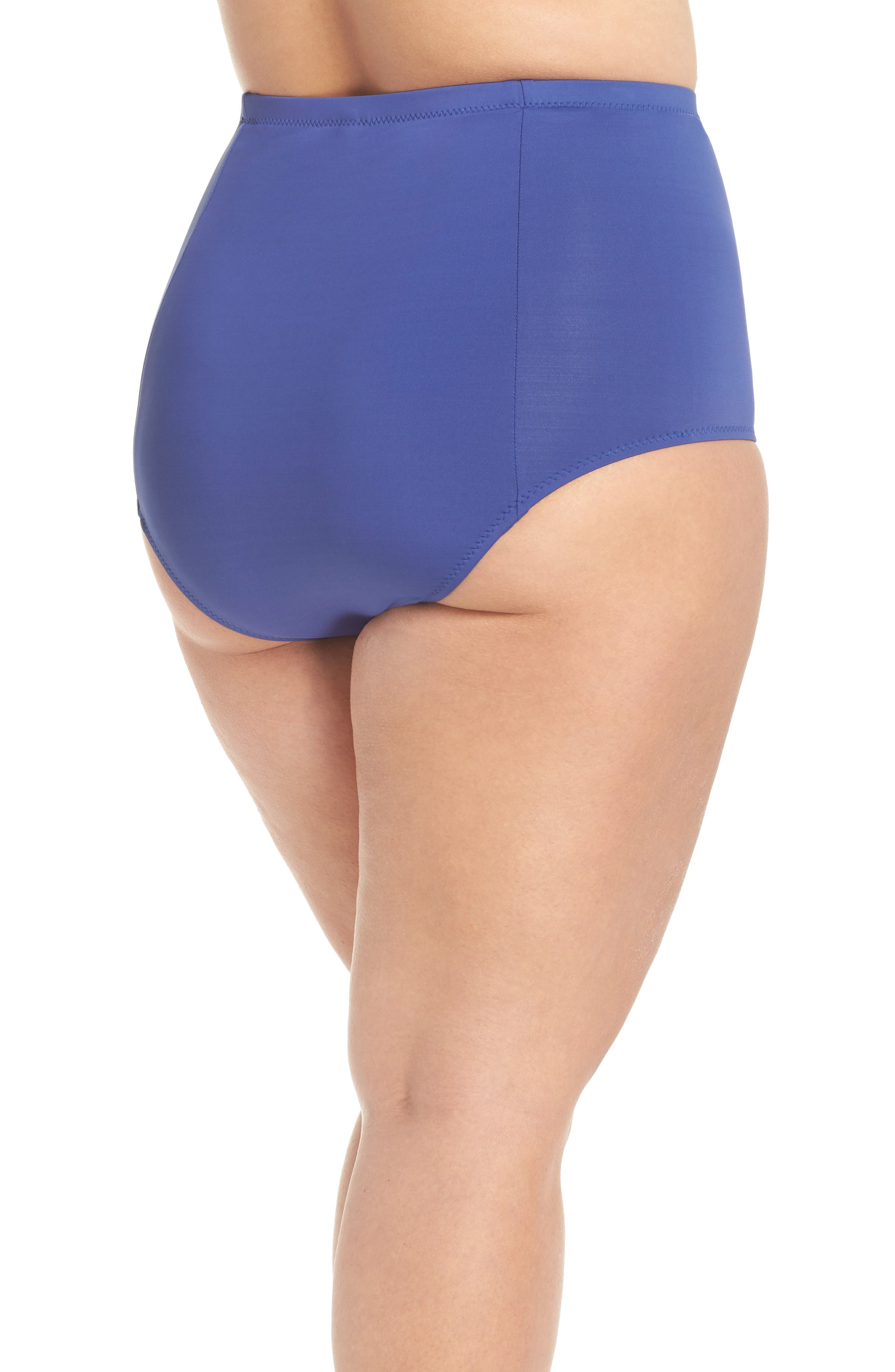 BECCA ETC., Color Code High Waist Bikini Bottoms, Alternate thumbnail 2, color, BLUE TOPAZ