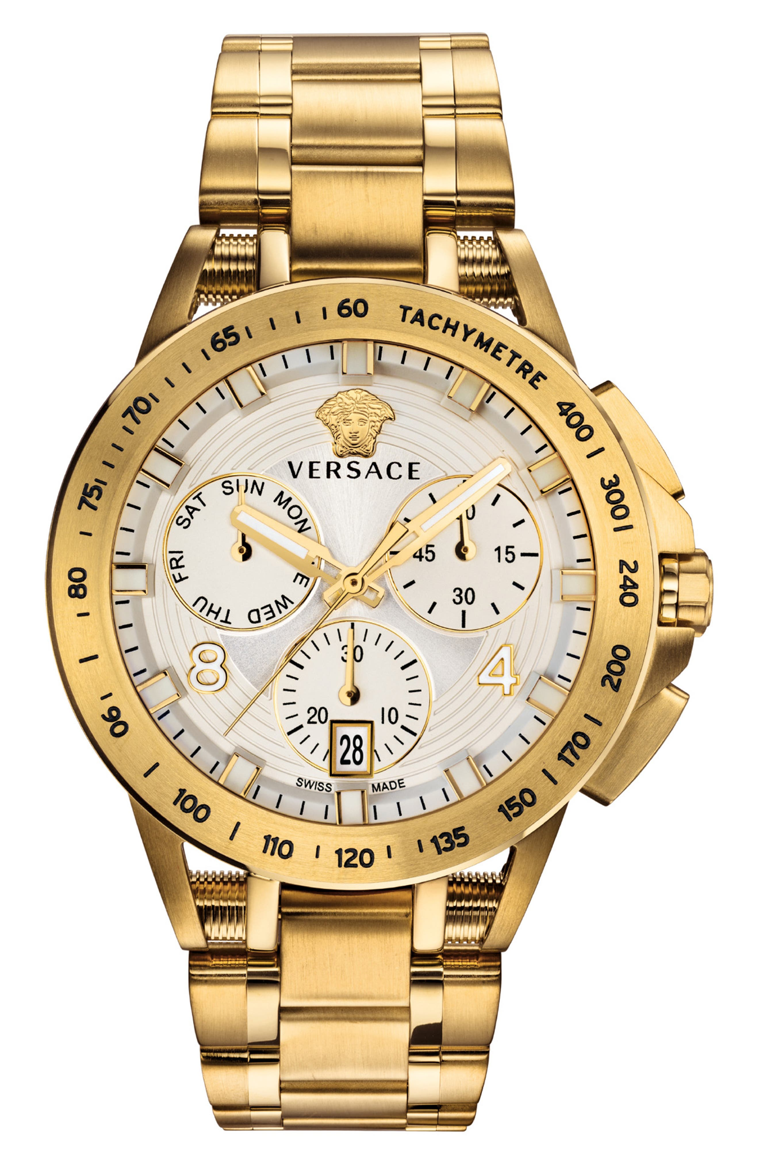 VERSACE, Sport Tech Chronograph Bracelet Watch, 45mm, Main thumbnail 1, color, GOLD/ WHITE/ GOLD