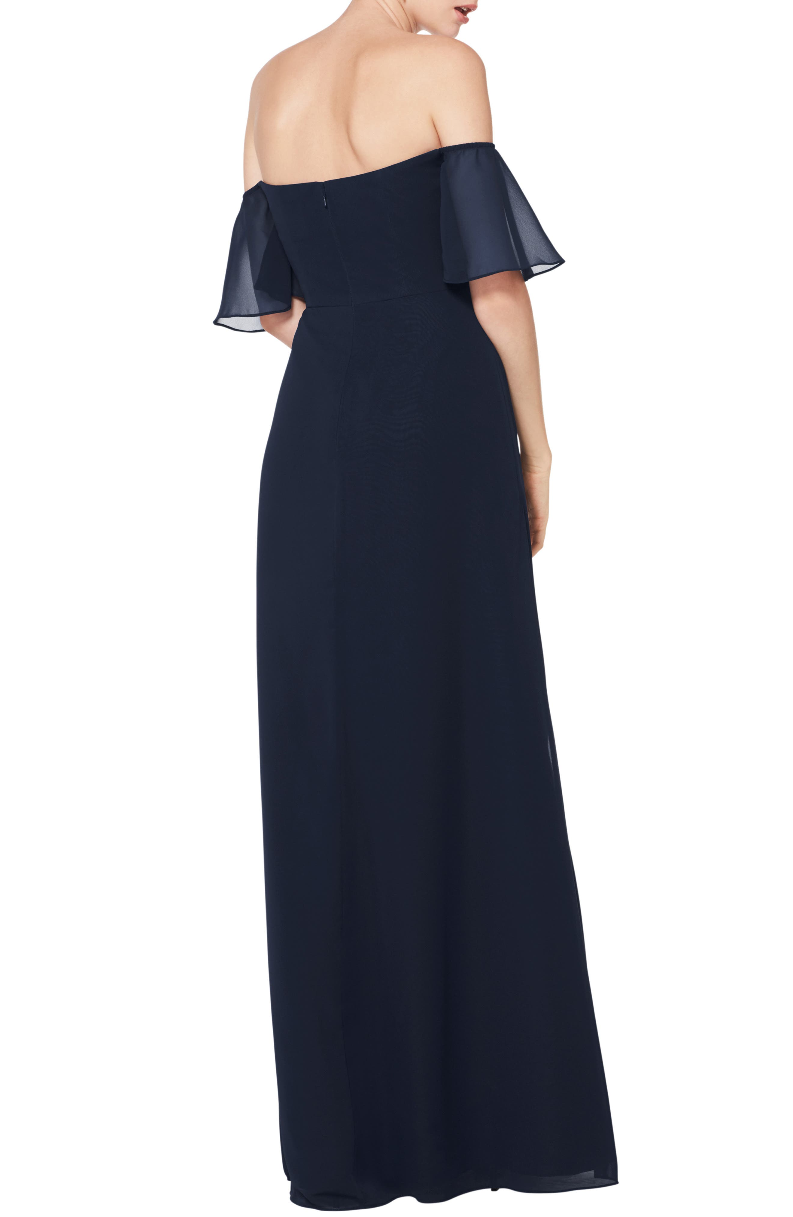 #LEVKOFF, Off the Shoulder Fluted Sleeve Chiffon Gown, Alternate thumbnail 2, color, NAVY