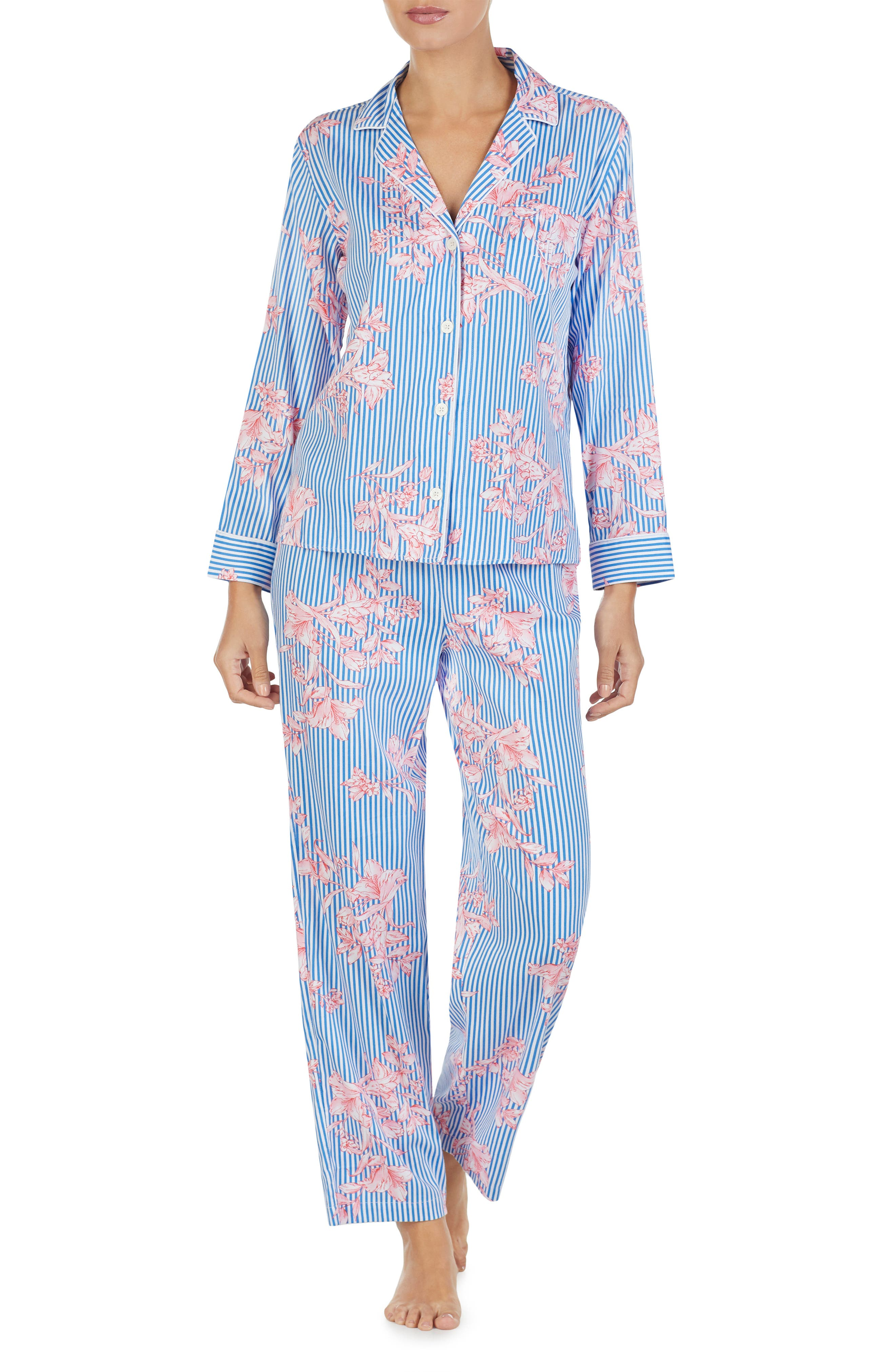 LAUREN RALPH LAUREN, Floral Pajamas, Alternate thumbnail 3, color, 486