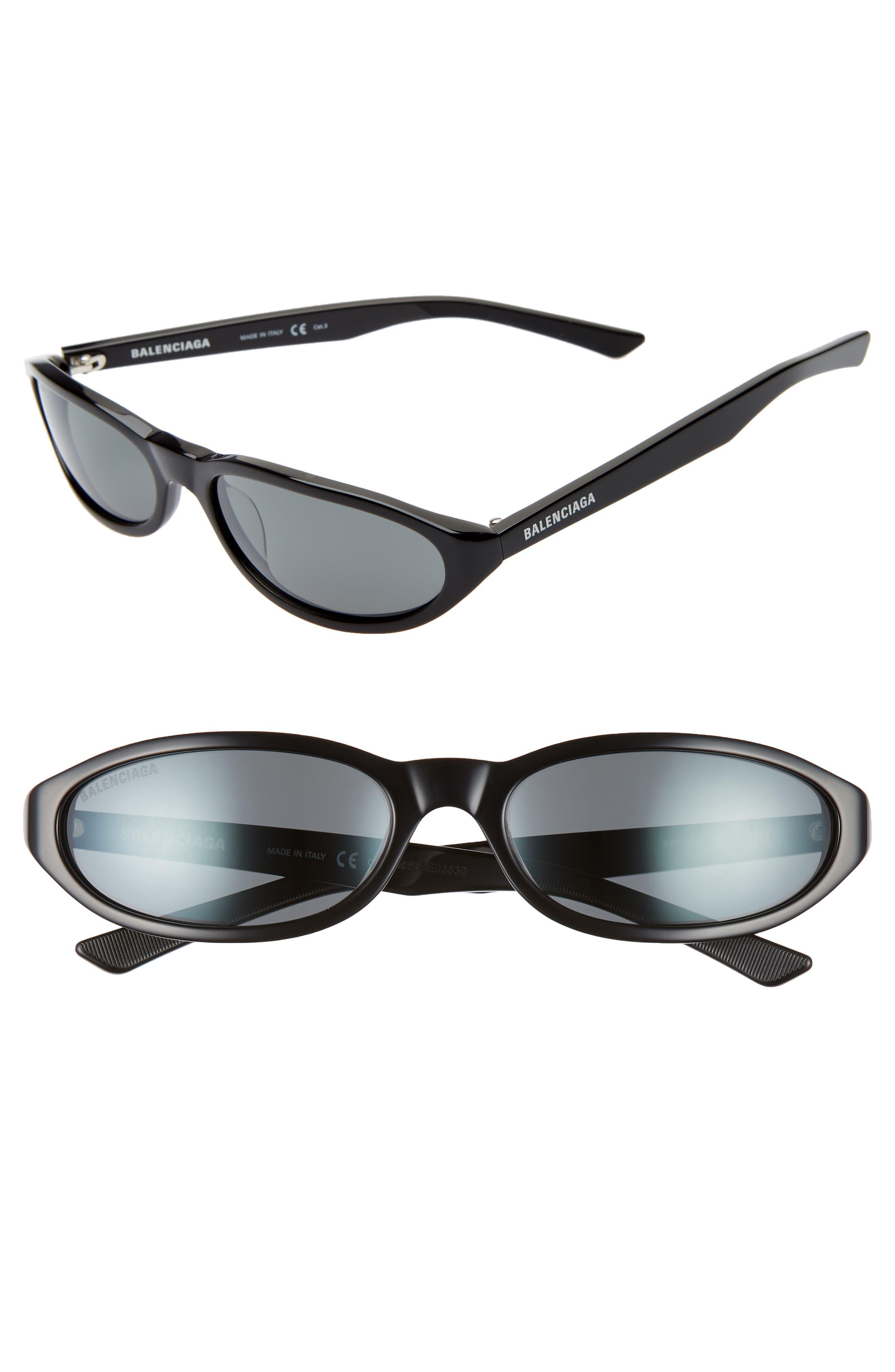 BALENCIAGA 59mm Cateye Sunglasses, Main, color, SHINY BLACK/ GREY