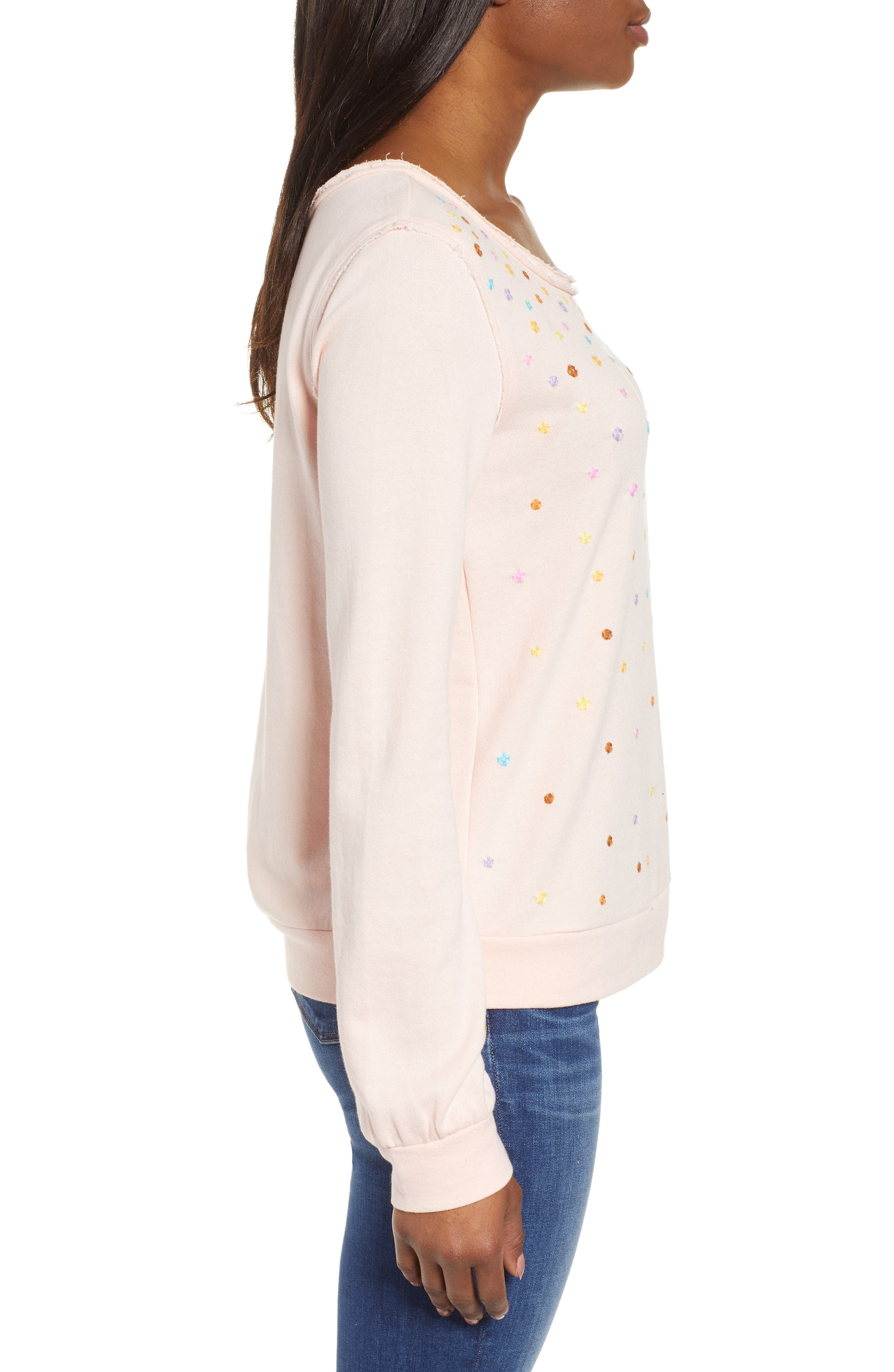CASLON<SUP>®</SUP>, Embroidered Sweatshirt, Alternate thumbnail 3, color, PINK C EMBROIDERED
