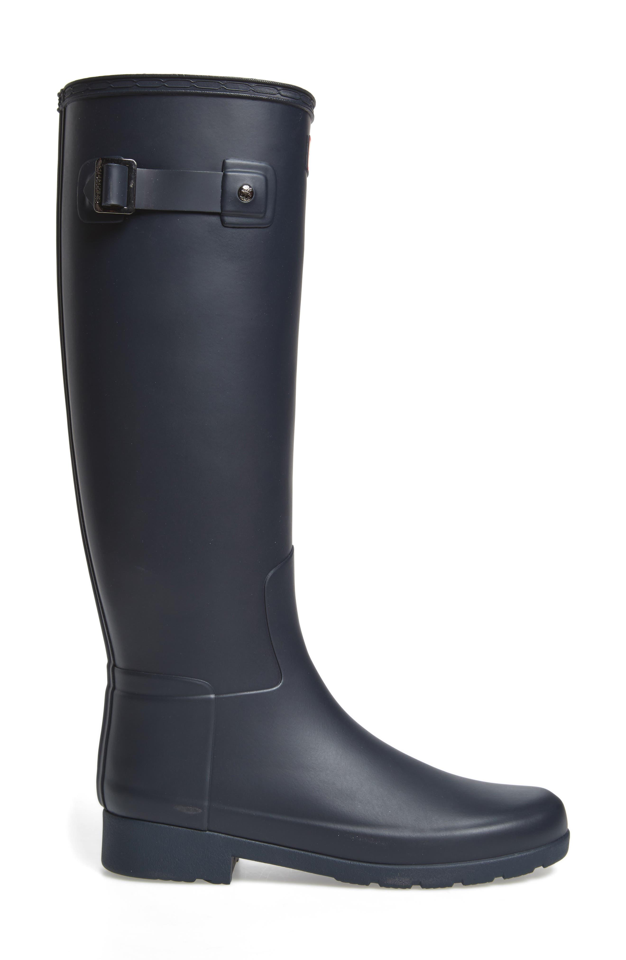 HUNTER, Original Refined Waterproof Rain Boot, Alternate thumbnail 3, color, NAVY