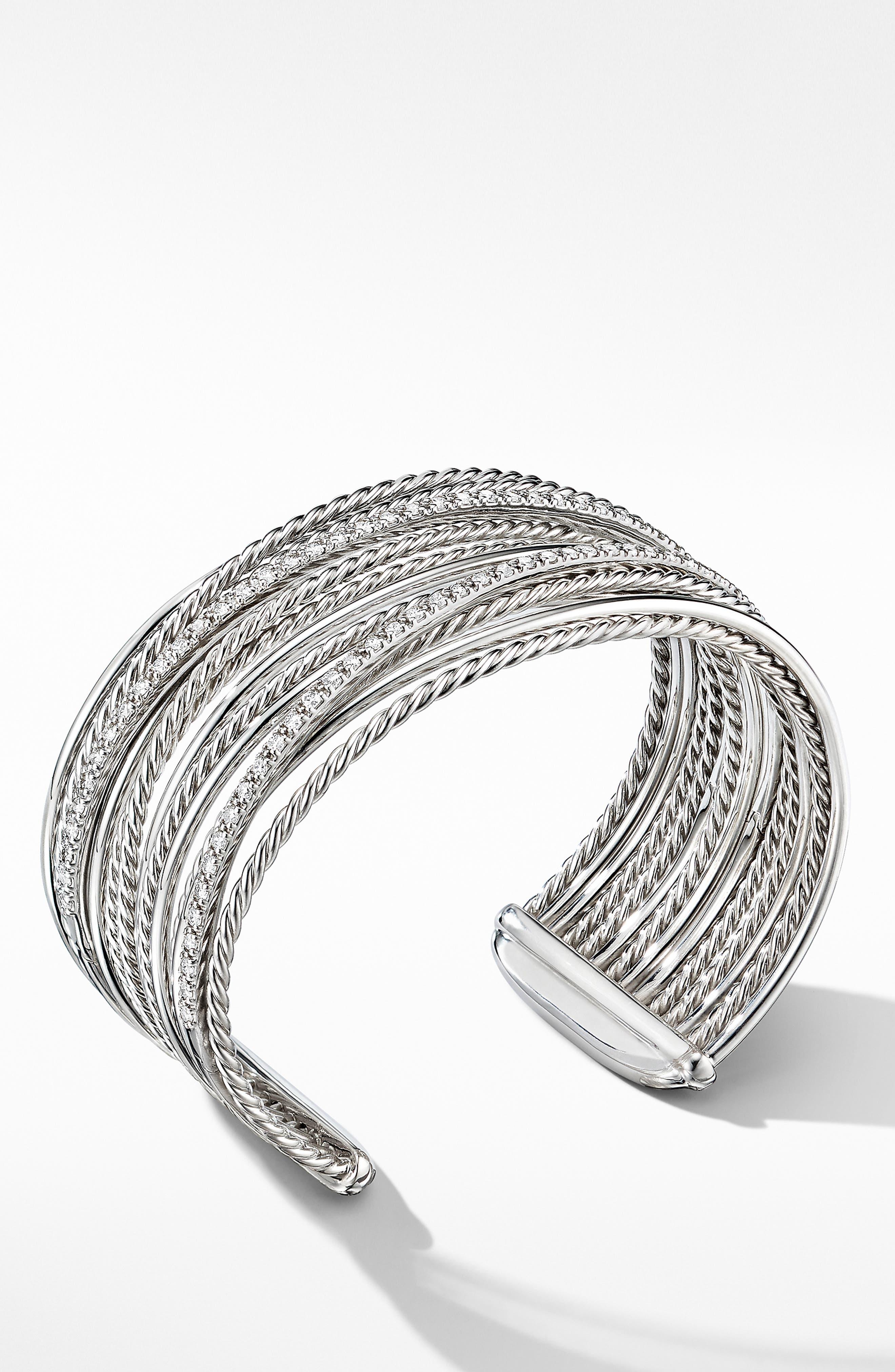 DAVID YURMAN, Crossover Cuff Bracelet with Diamonds, Alternate thumbnail 2, color, SILVER/ DIAMOND