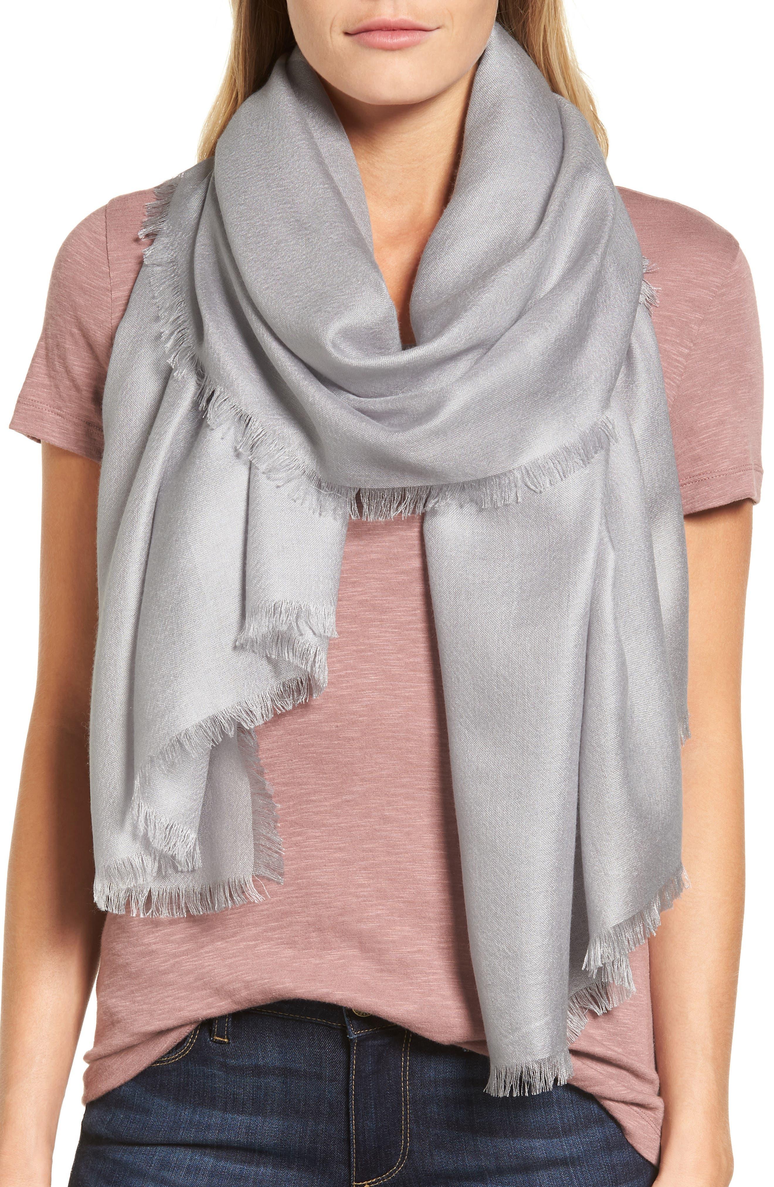 NORDSTROM Cashmere & Silk Wrap, Main, color, GREY SCONCE