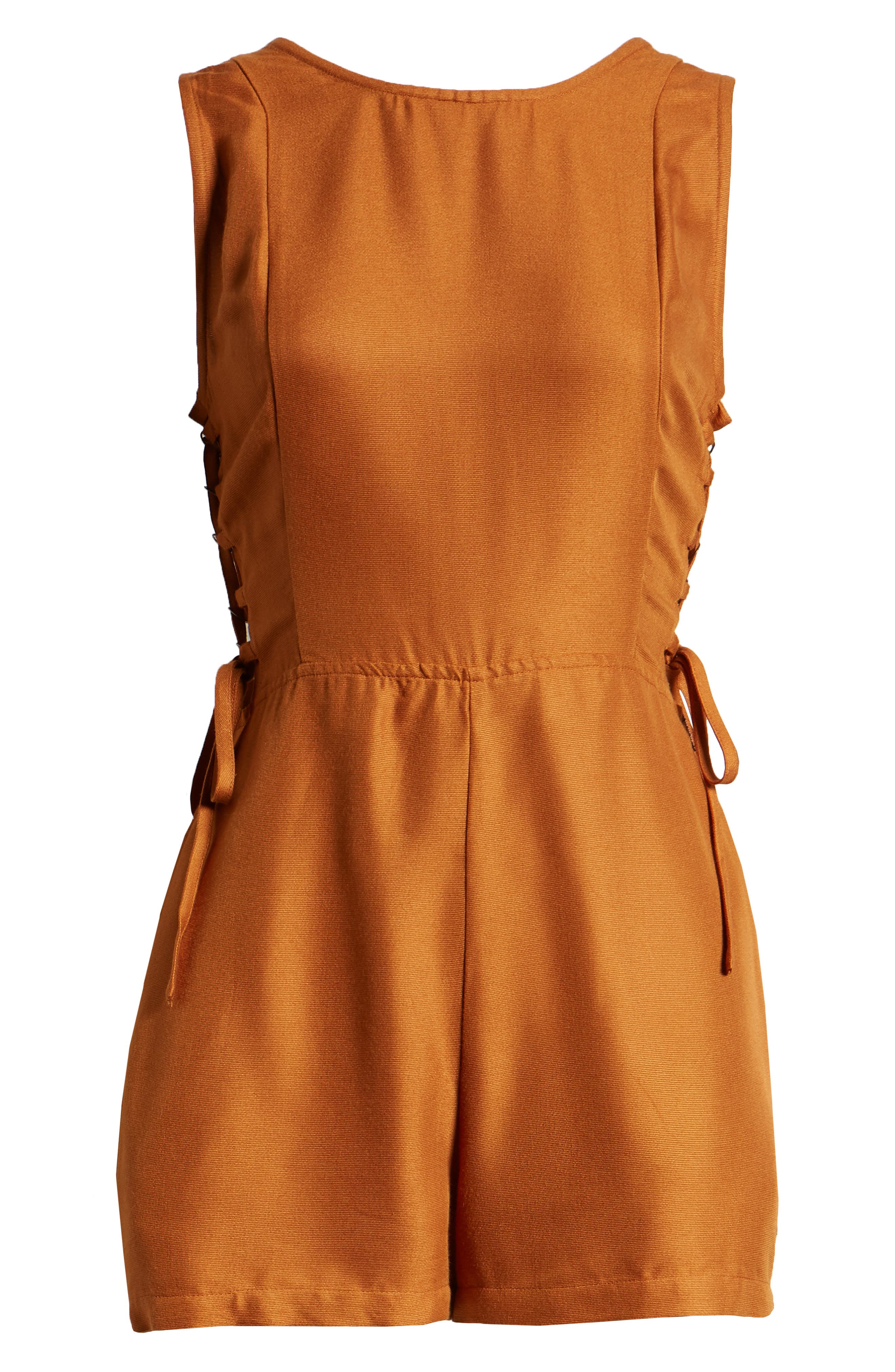 RVCA, Freddie Lace-Up Romper, Alternate thumbnail 7, color, GINGER