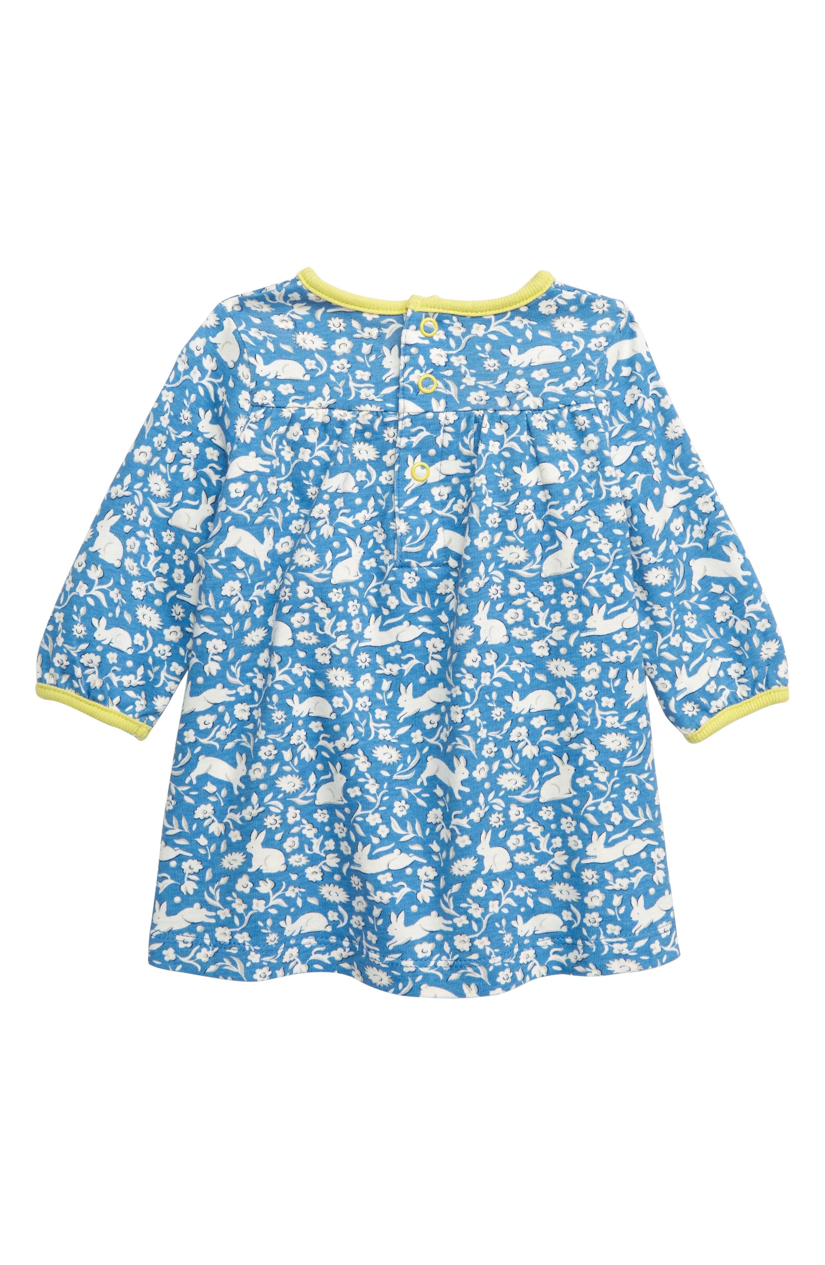 MINI BODEN, Pretty Smocked Jersey Dress, Alternate thumbnail 2, color, ELIZABETH BLUE WILD BUNNIES