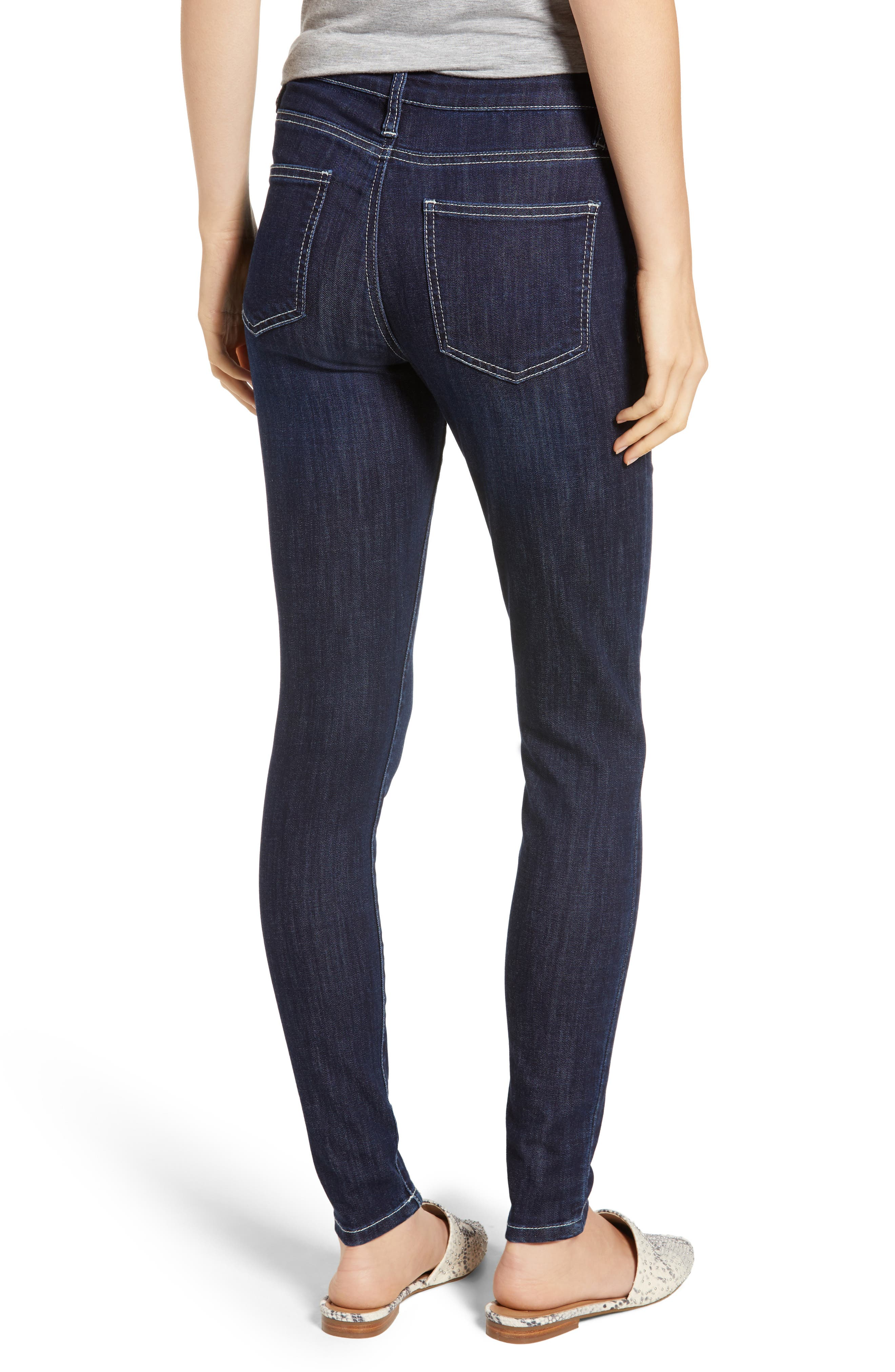 PROSPERITY DENIM, Contrast Stitch Skinny Jeans, Alternate thumbnail 2, color, DARK WASH