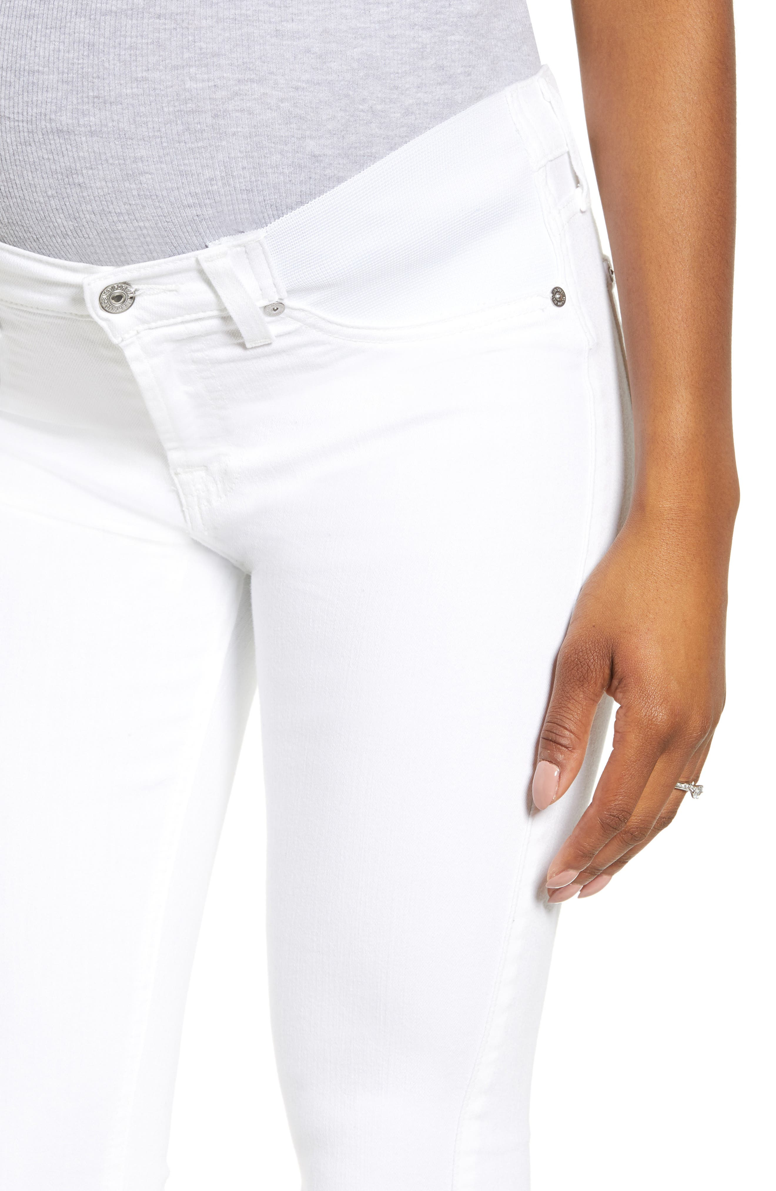 7 FOR ALL MANKIND<SUP>®</SUP>, The Ankle Skinny Maternity Jeans, Alternate thumbnail 5, color, CLEAN WHITE