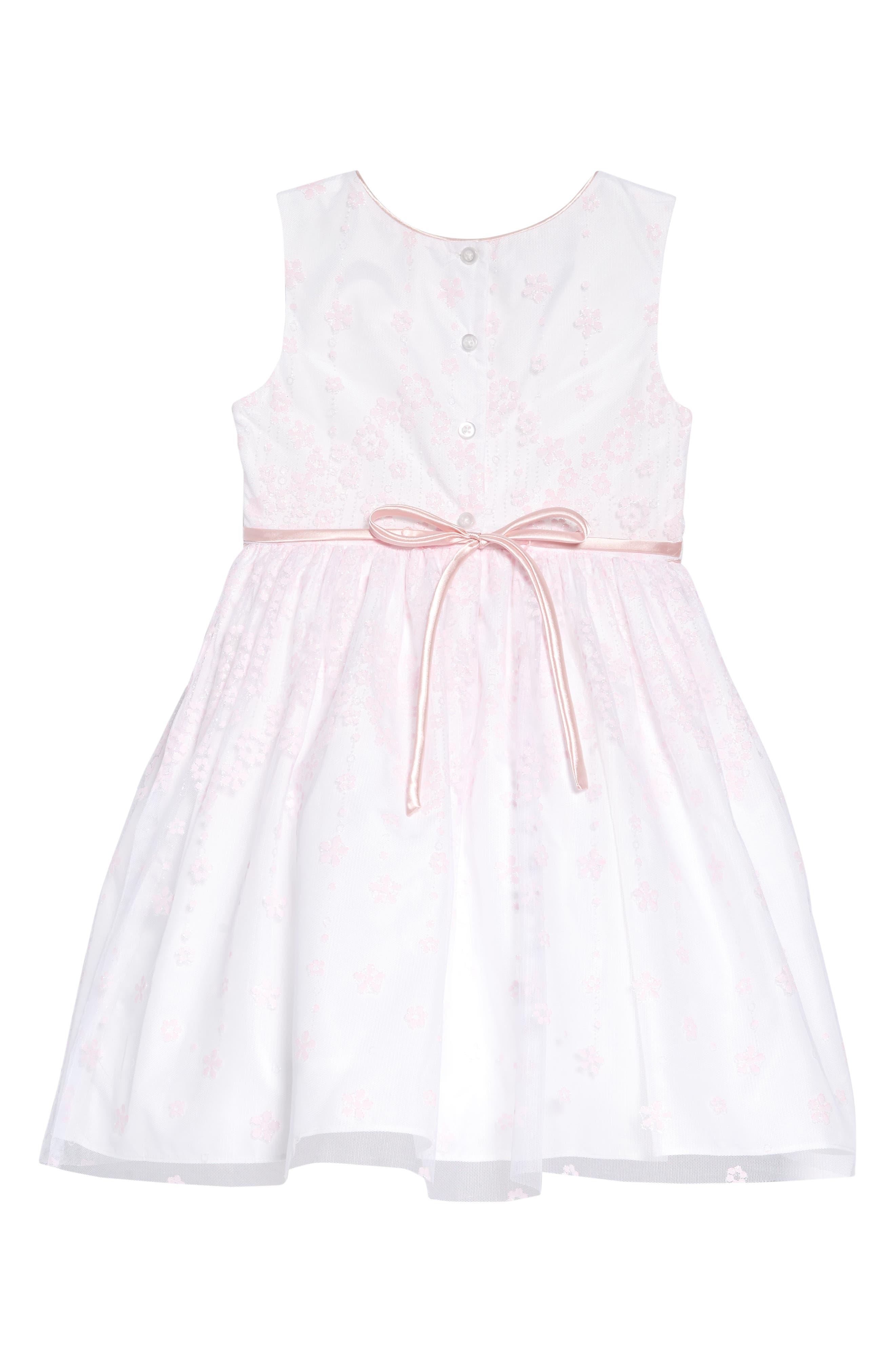 FRAIS, Flower Glitter Fit & Flare Dress, Alternate thumbnail 2, color, PINK