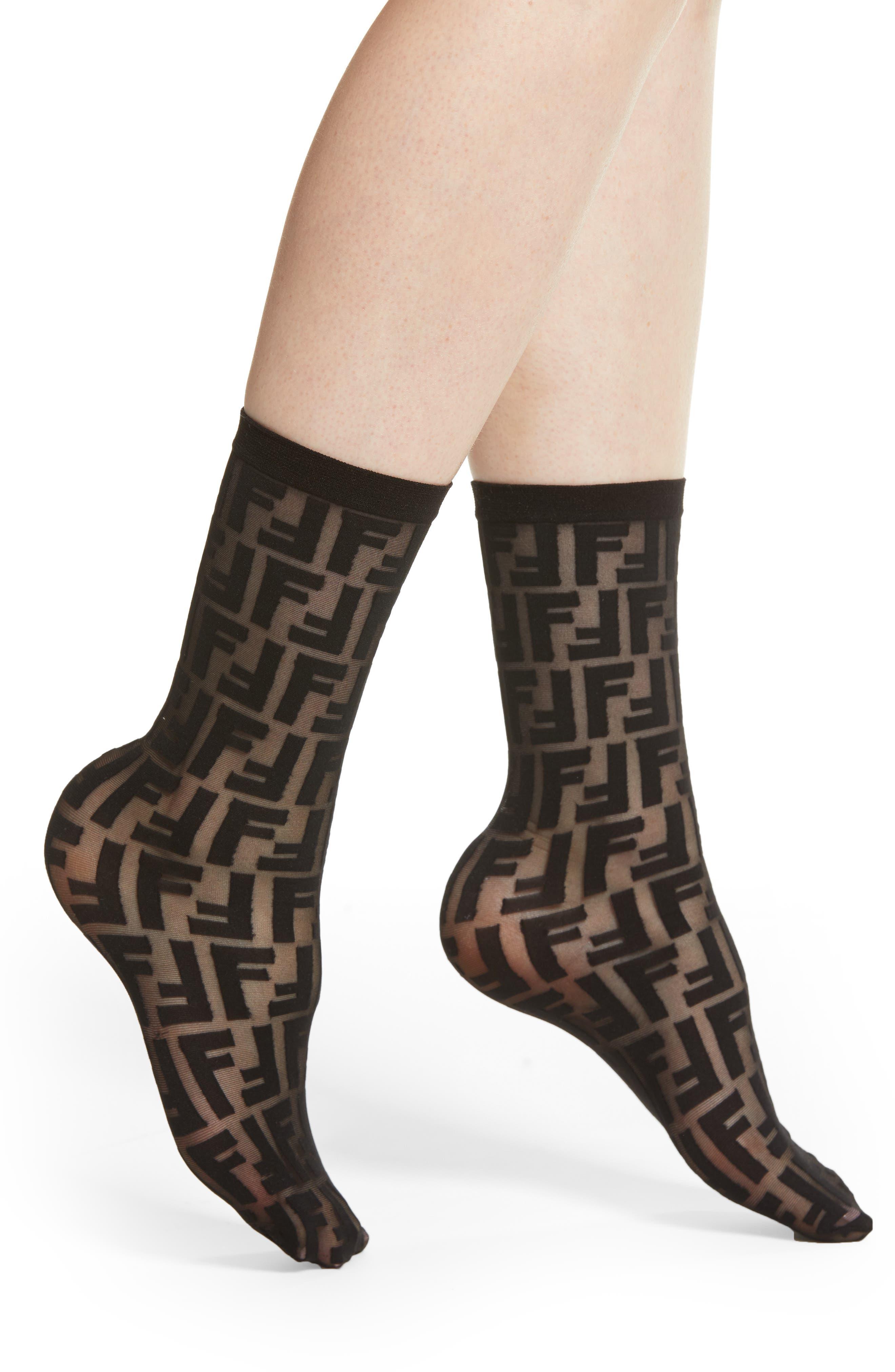 FENDI Double F Logo Crew Socks, Main, color, BLACK