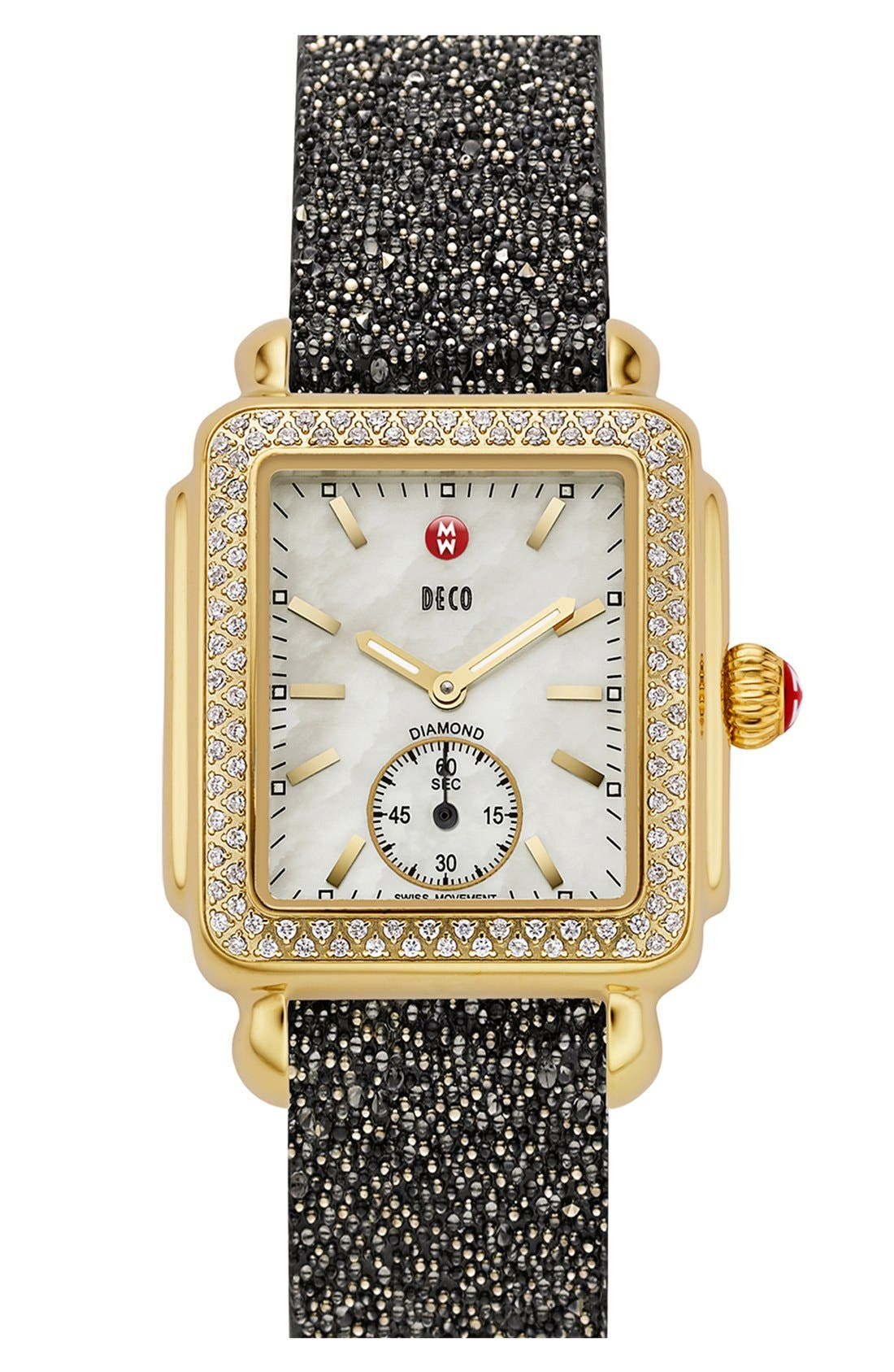 MICHELE, Deco 16 Diamond Gold Plated Watch Head, 29mm x 31mm, Alternate thumbnail 5, color, GOLD