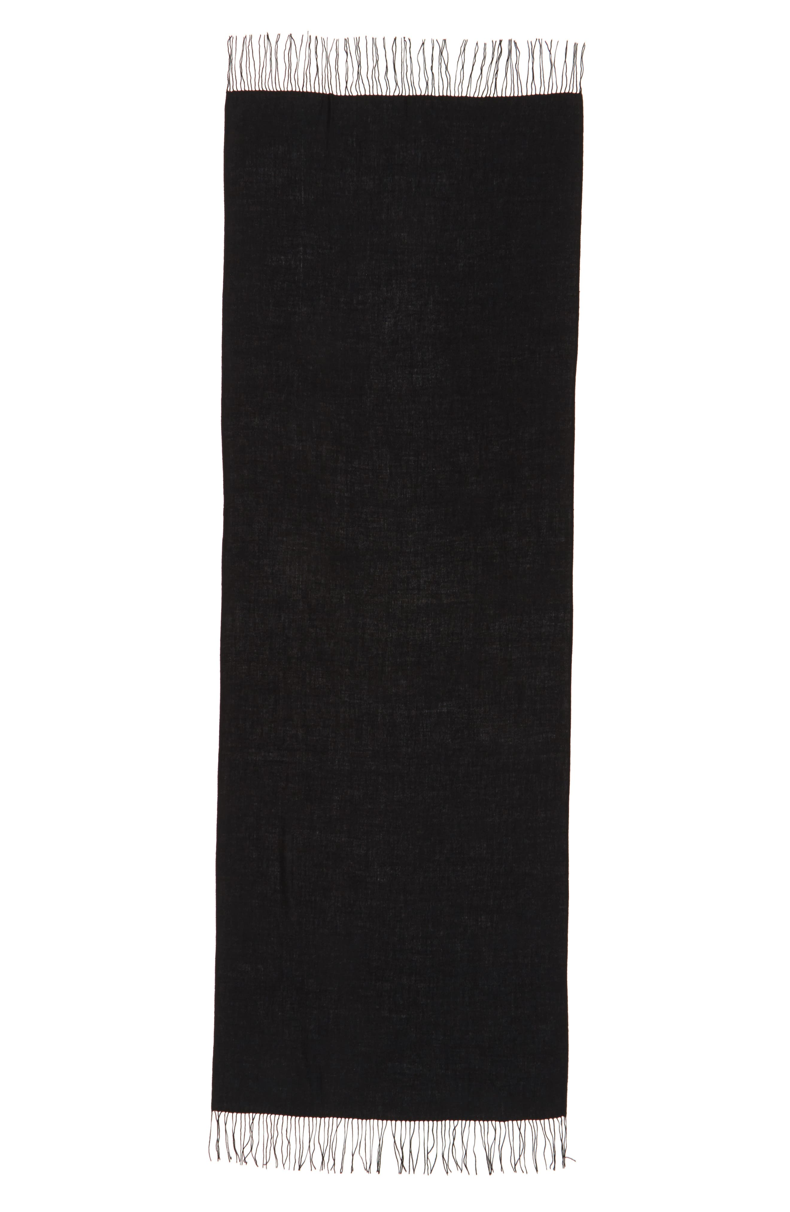 NORDSTROM, Tissue Weight Wool & Cashmere Scarf, Alternate thumbnail 3, color, BLACK