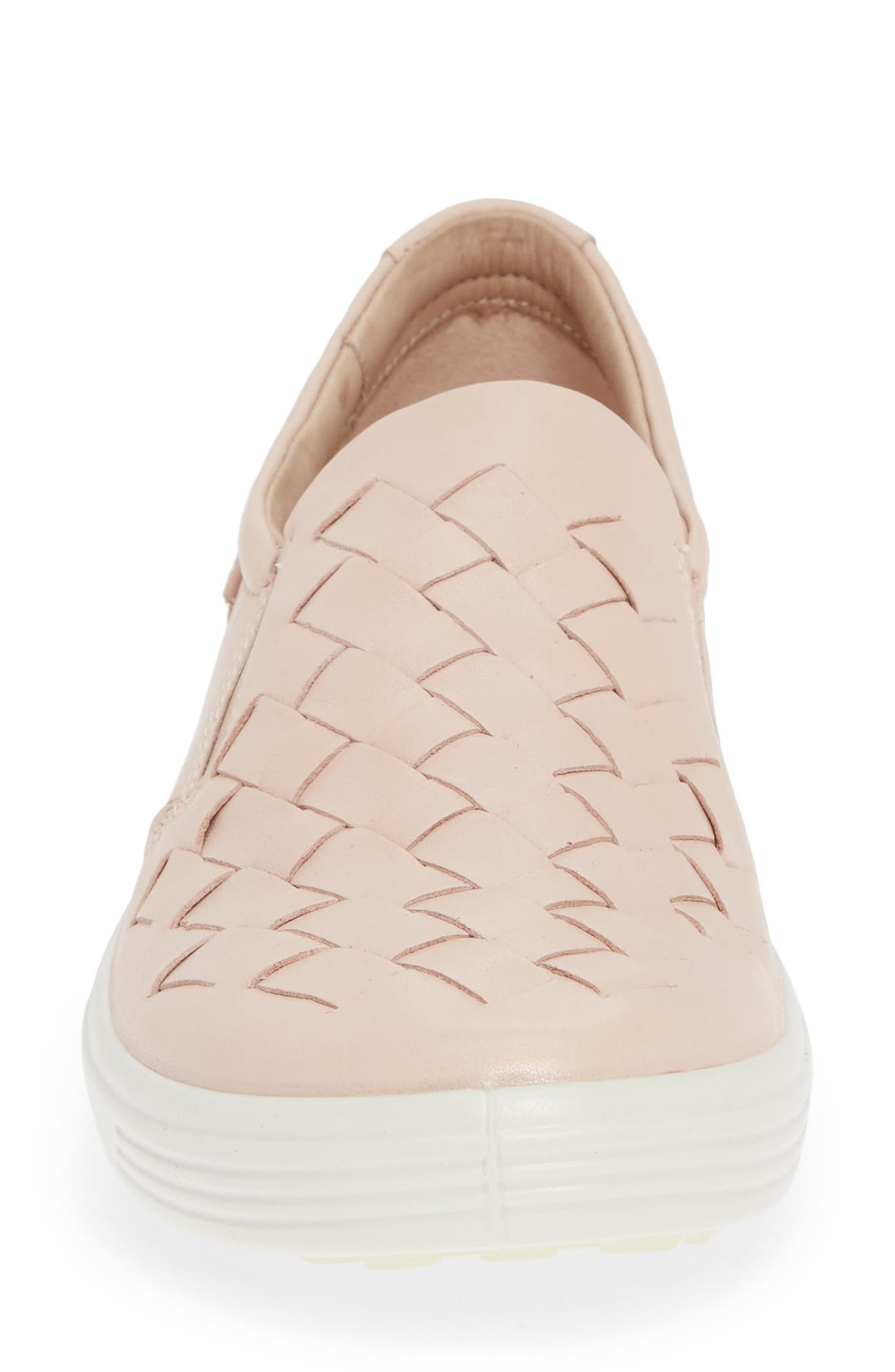 ECCO, Soft 7 Woven Slip-On Sneaker, Alternate thumbnail 4, color, ROSE DUST LEATHER