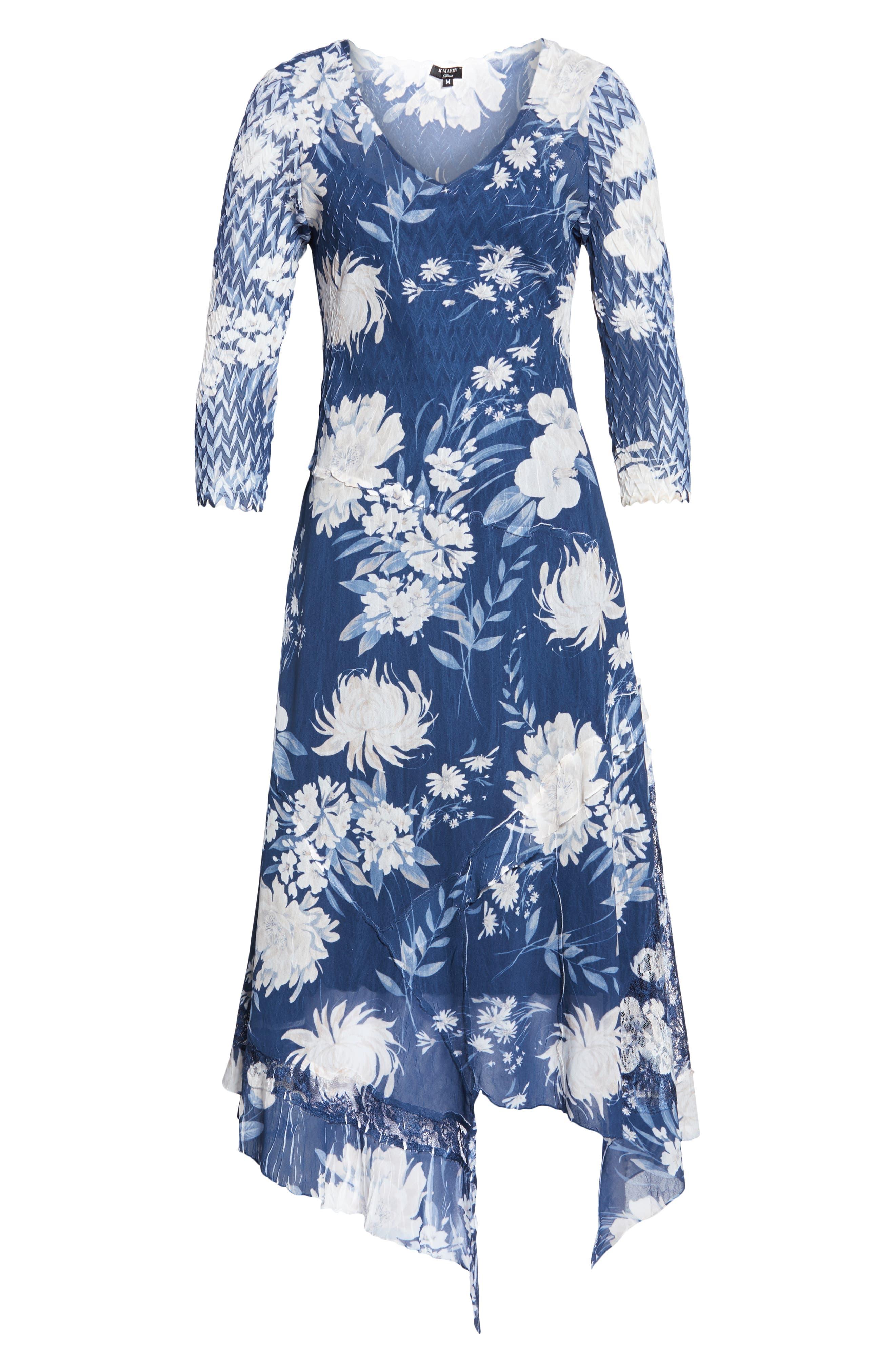 KOMAROV, Handkerchief Hem Dress, Alternate thumbnail 5, color, 400