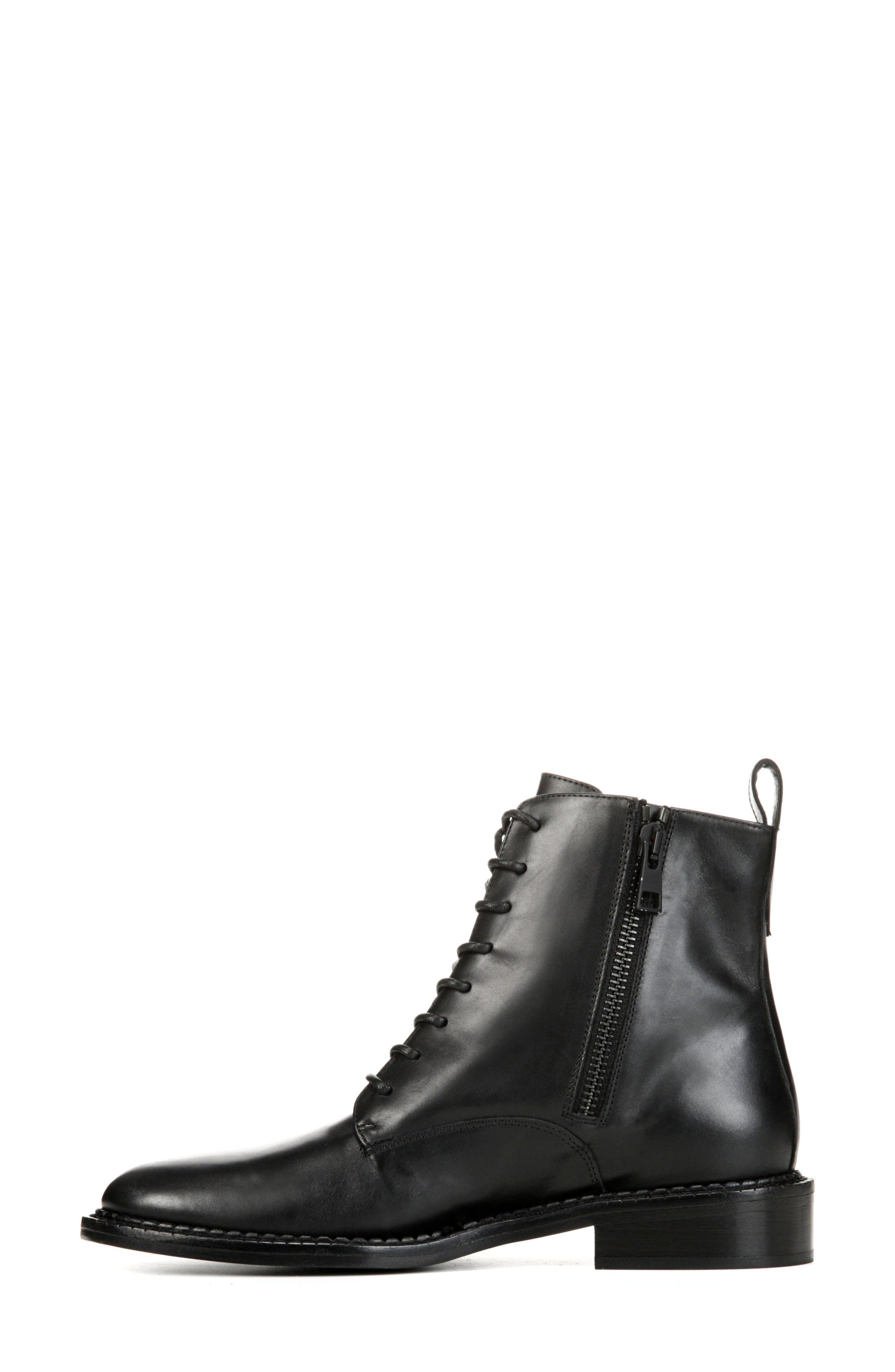 VINCE, Cabria Lace-Up Boot, Alternate thumbnail 3, color, BLACK