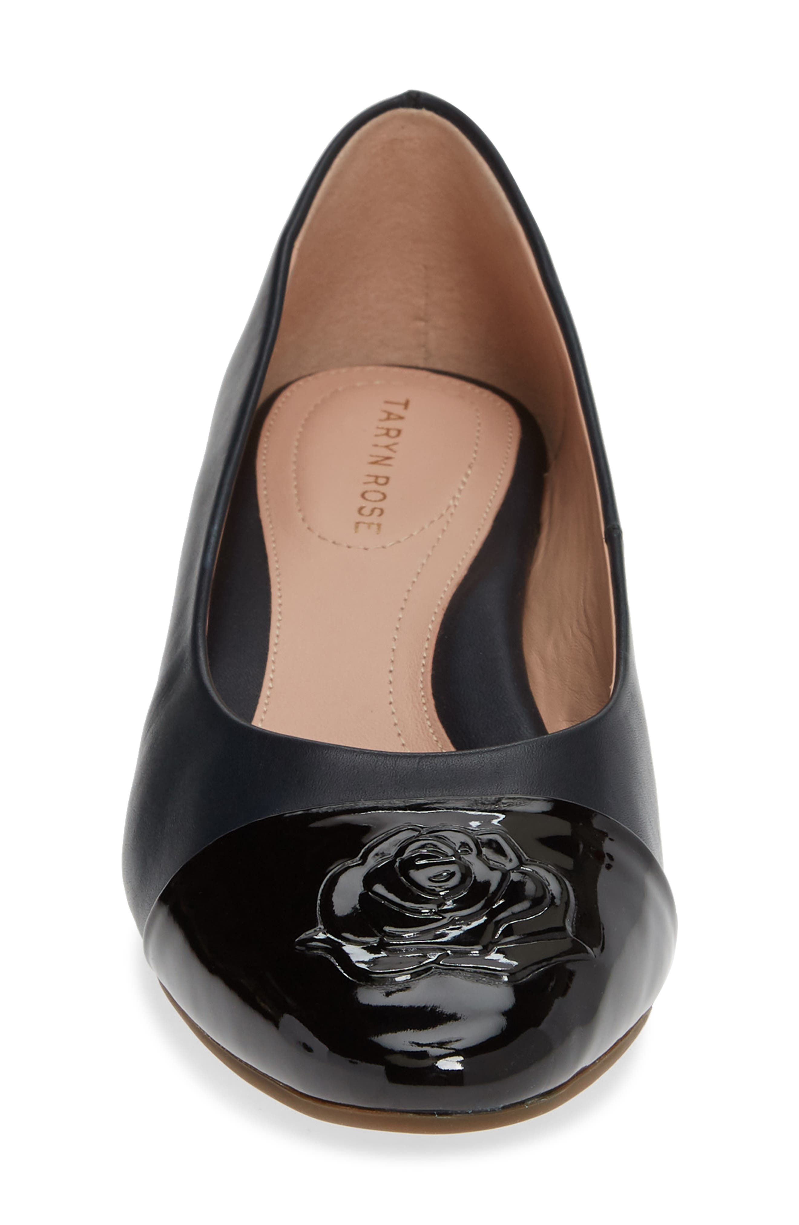 TARYN ROSE, Babe Cap Toe Pump, Alternate thumbnail 4, color, MIDNIGHT/ BLACK LEATHER