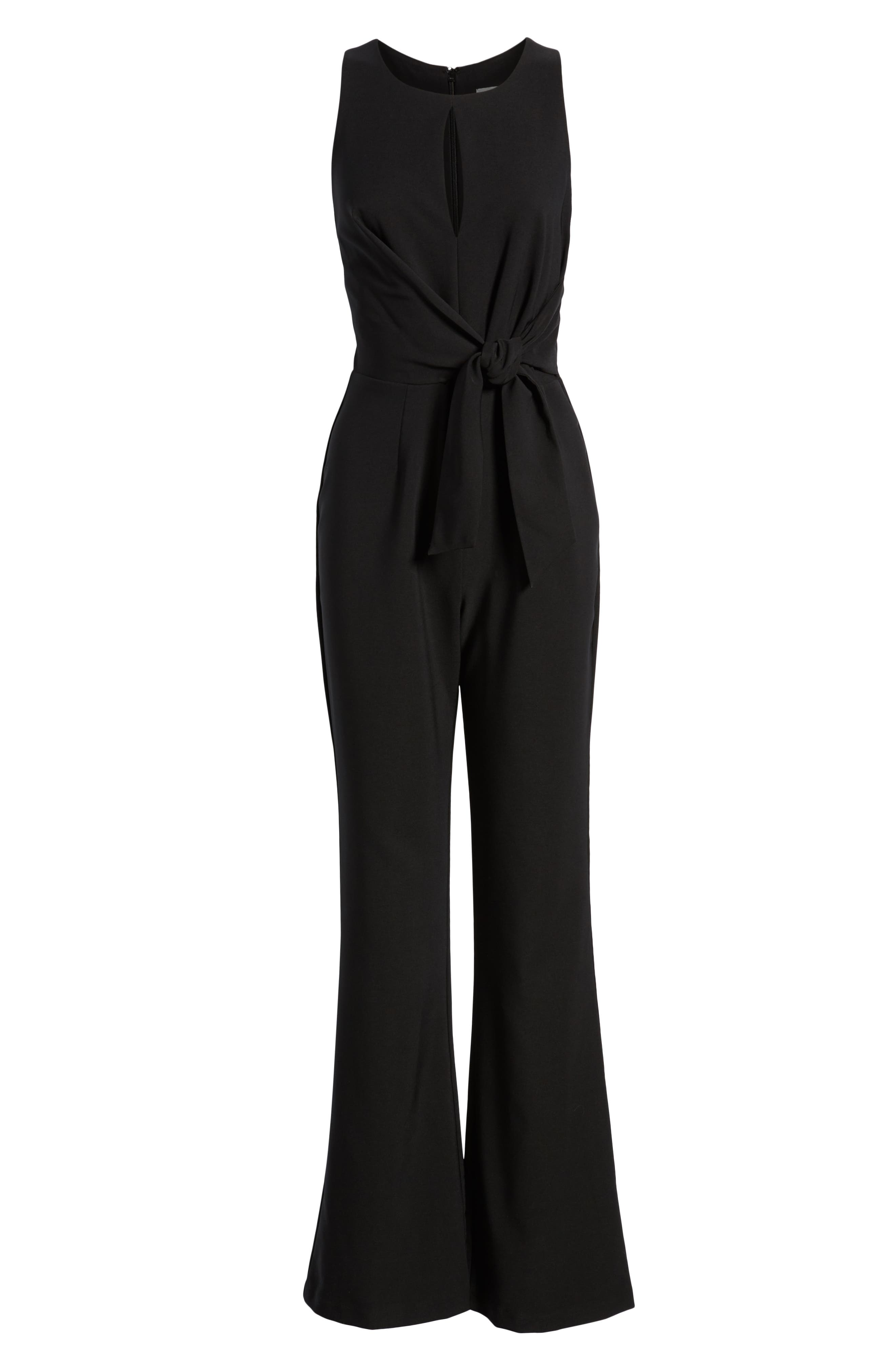 SOCIALITE, Tie Front Jumpsuit, Alternate thumbnail 7, color, BLACK