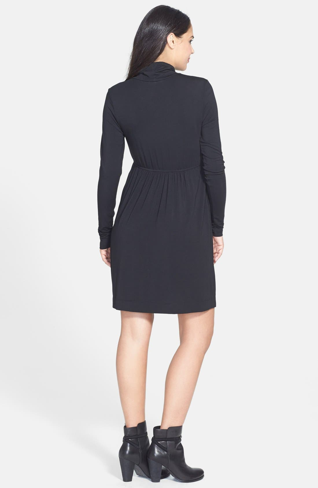 TART MATERNITY, 'Rhiannon' Turtleneck Fit & Flare Maternity Dress, Alternate thumbnail 4, color, BLACK
