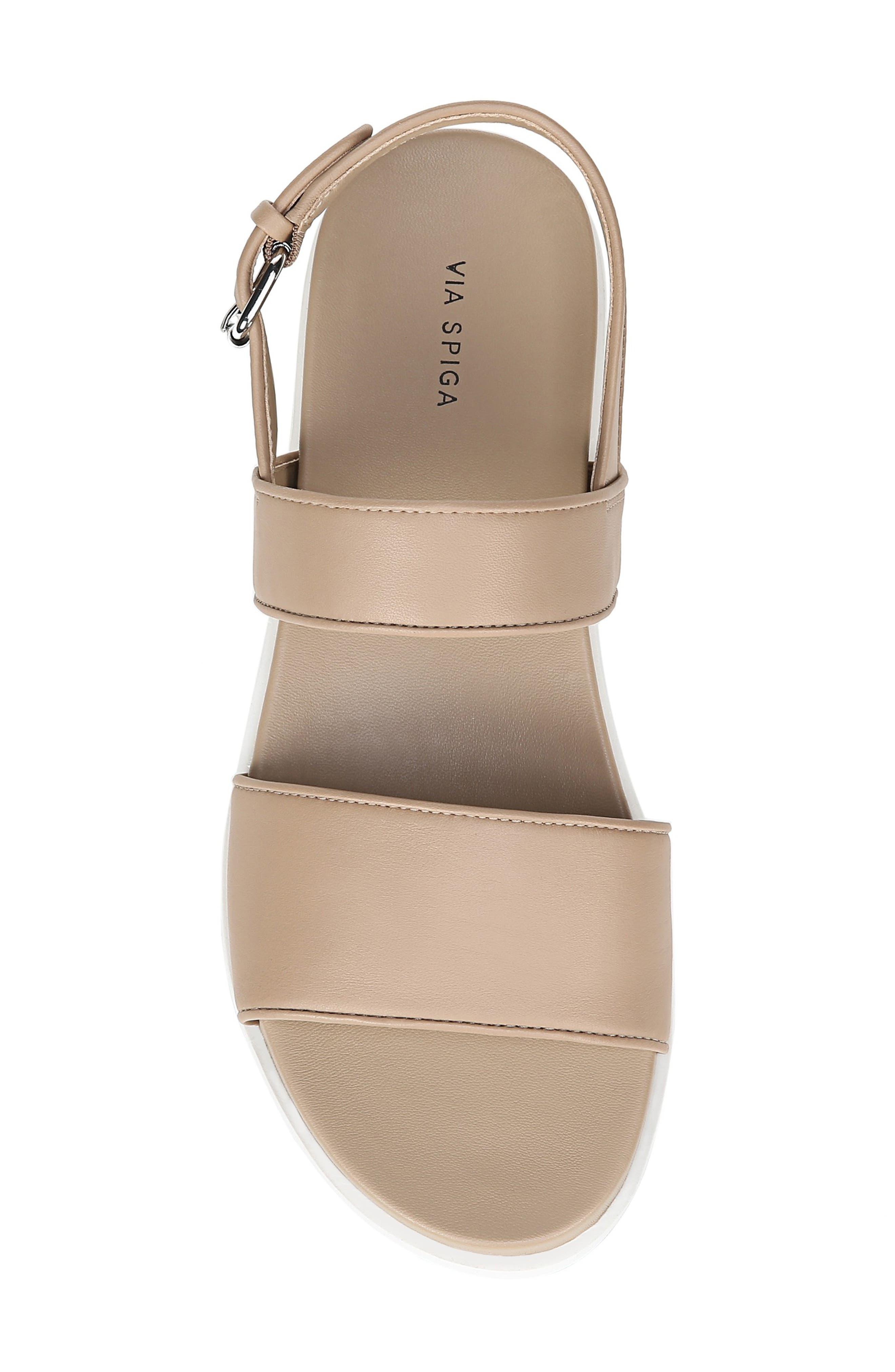 VIA SPIGA, Davi Platform Sandal, Alternate thumbnail 5, color, DESERT NAPPA