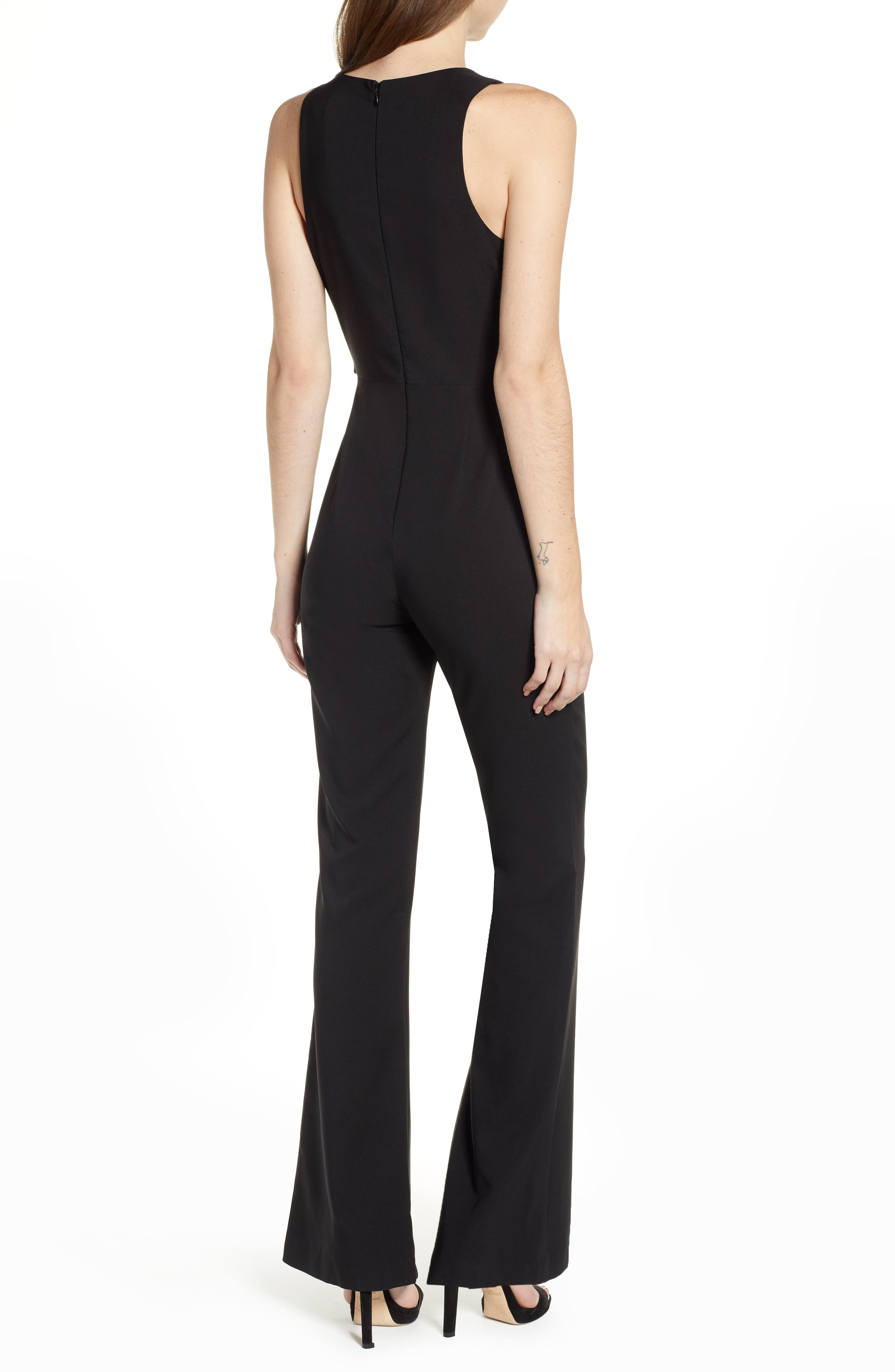 SOCIALITE, Tie Front Jumpsuit, Alternate thumbnail 2, color, BLACK