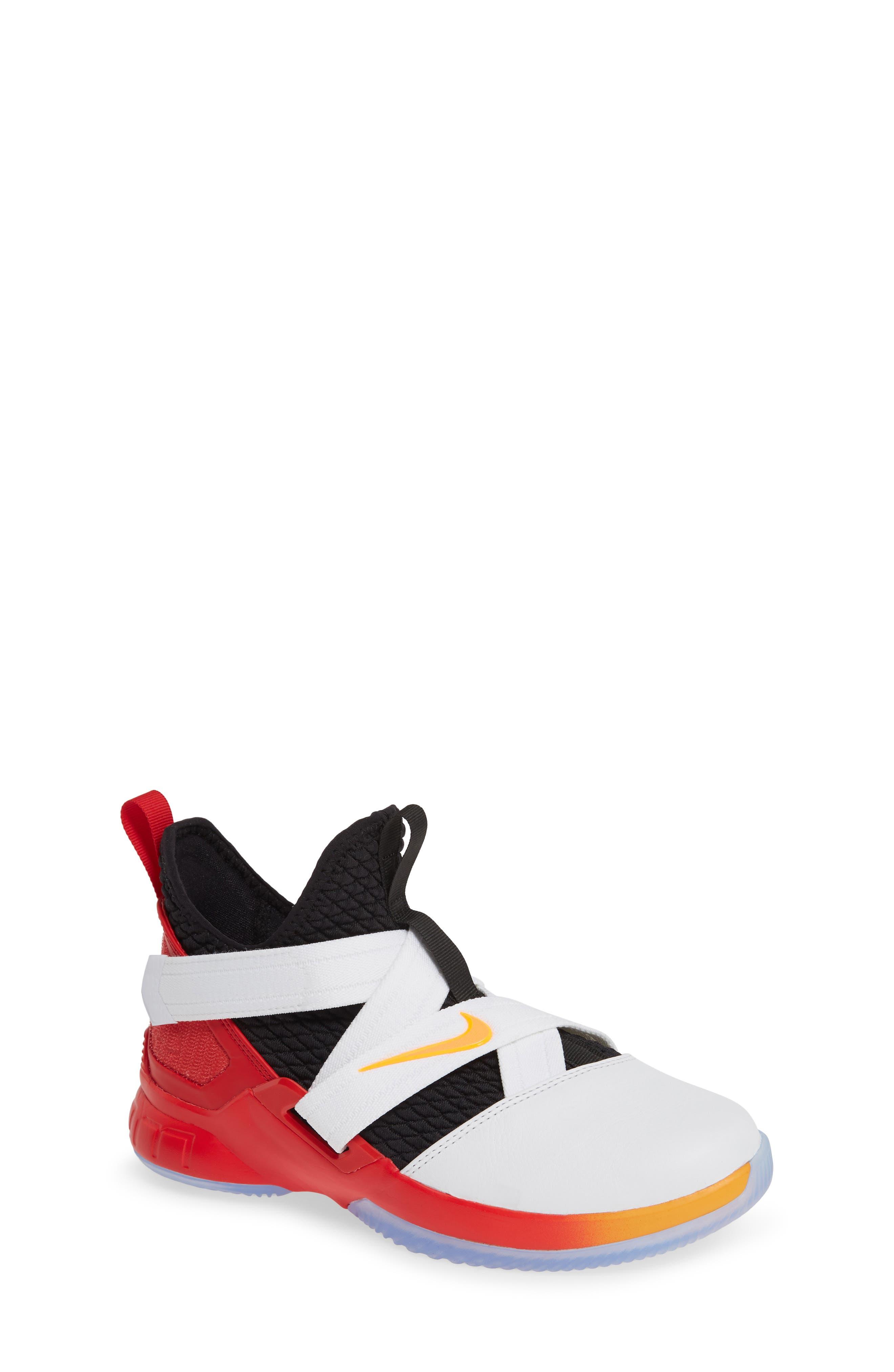 NIKE, LeBron Soldier XII Basketball Shoe, Main thumbnail 1, color, WHITE/ LASER ORANGE-BLACK-RED