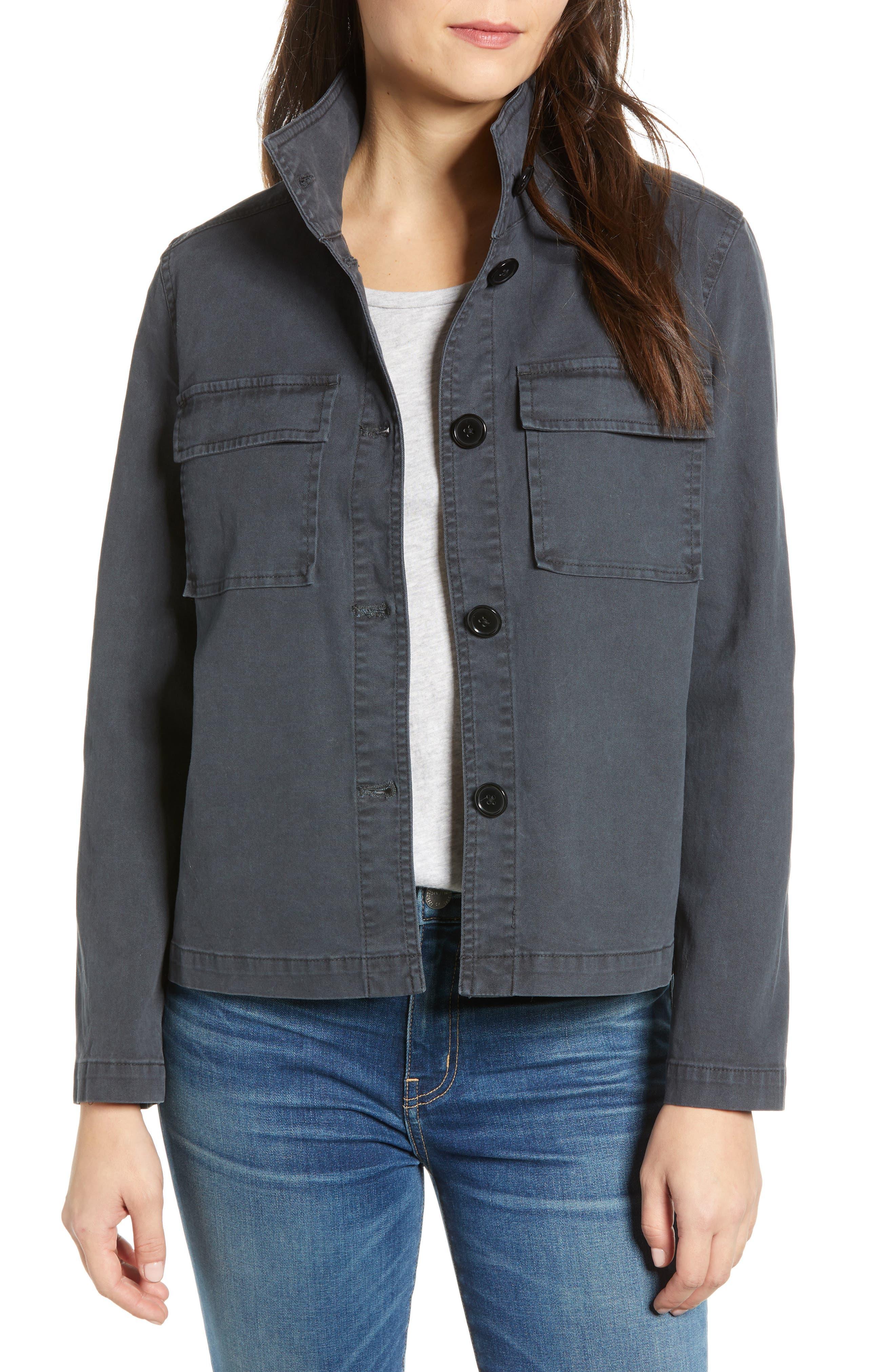 CASLON<SUP>®</SUP> Short Utility Jacket, Main, color, GREY EBONY