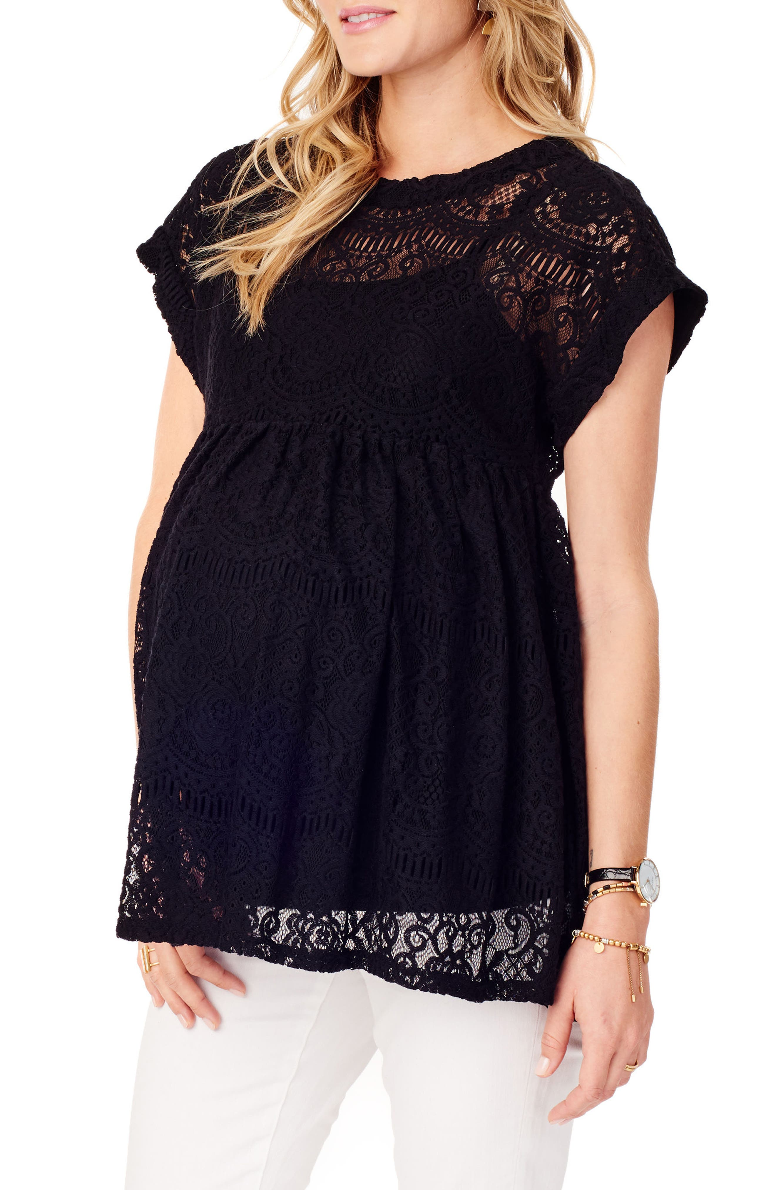 INGRID & ISABEL<SUP>®</SUP>, Lace Maternity Swing Top, Alternate thumbnail 3, color, JET BLACK