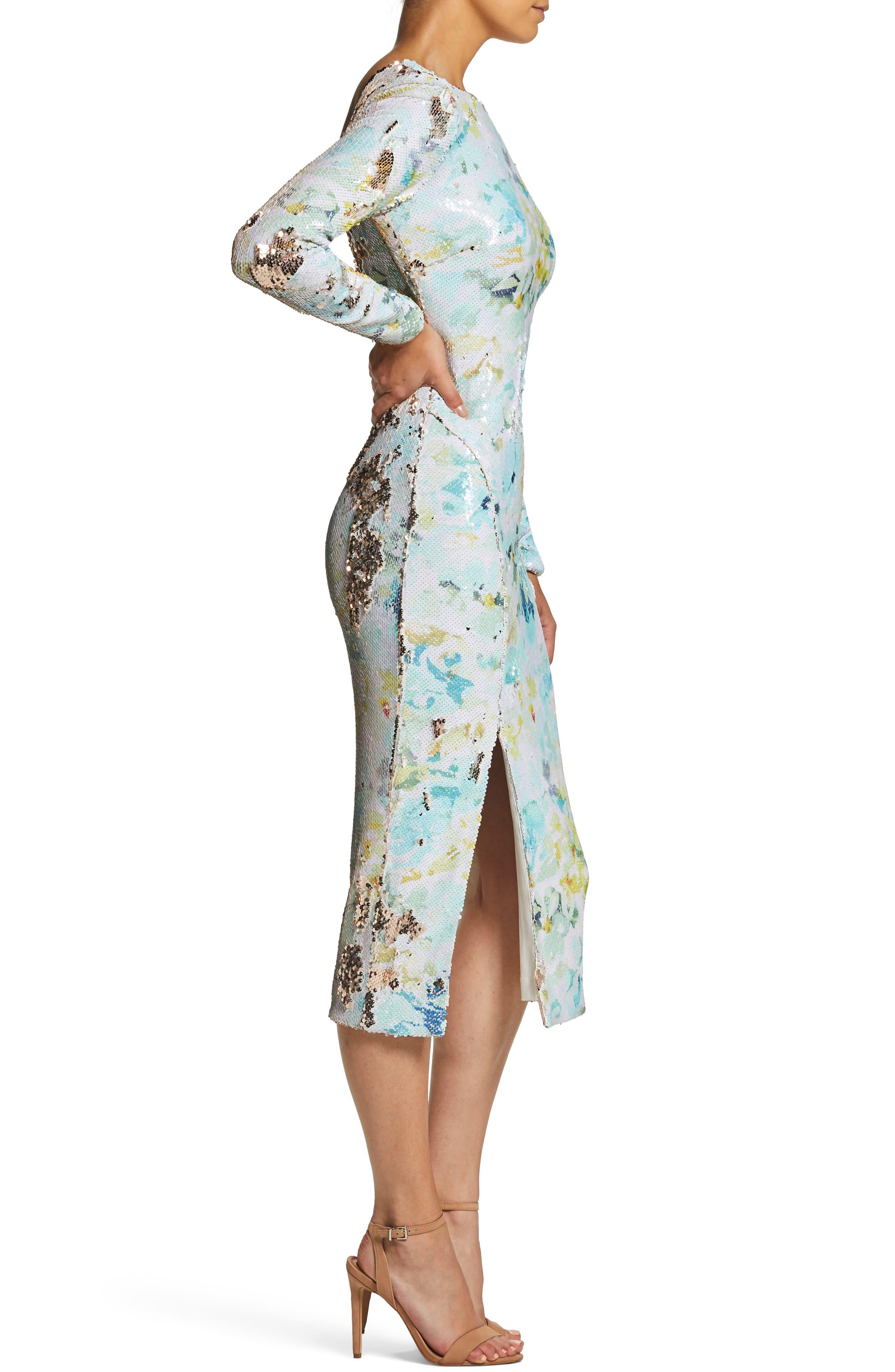 DRESS THE POPULATION, Natalie Scoop Back Sequin Dress, Alternate thumbnail 5, color, IVORY/ SAGE/ GOLD