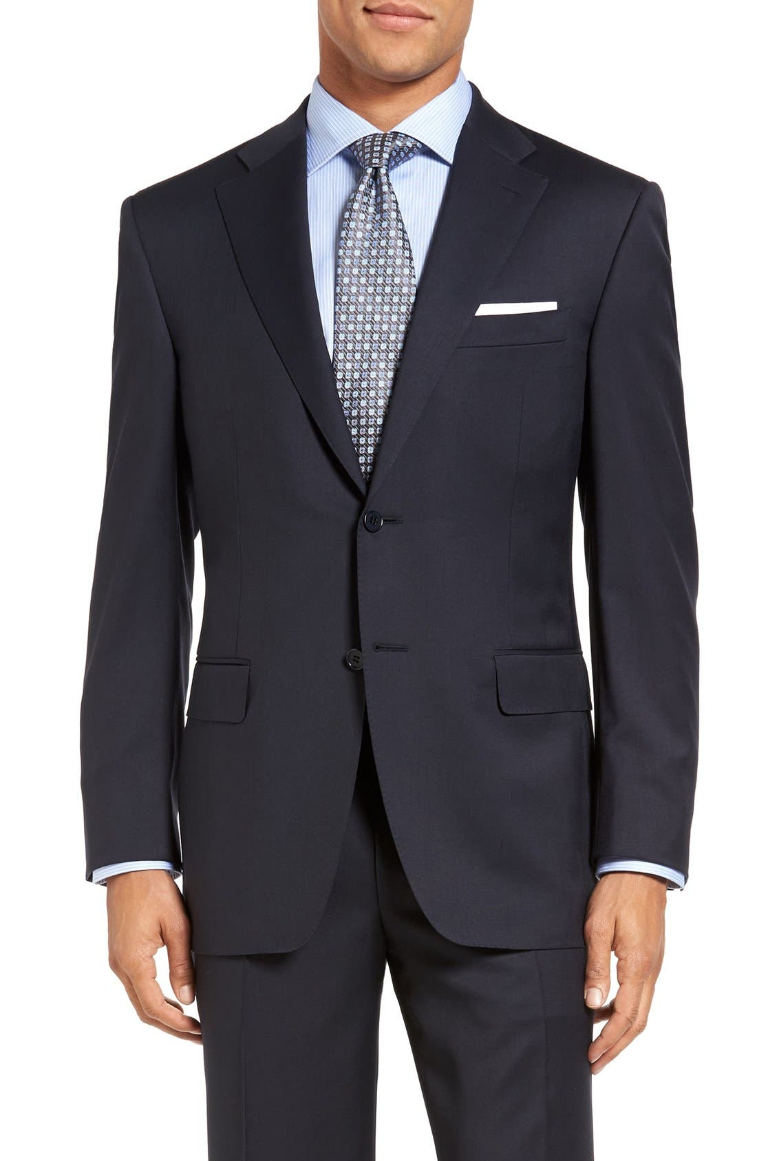 CANALI, Classic Fit Solid Wool Suit, Alternate thumbnail 5, color, NAVY