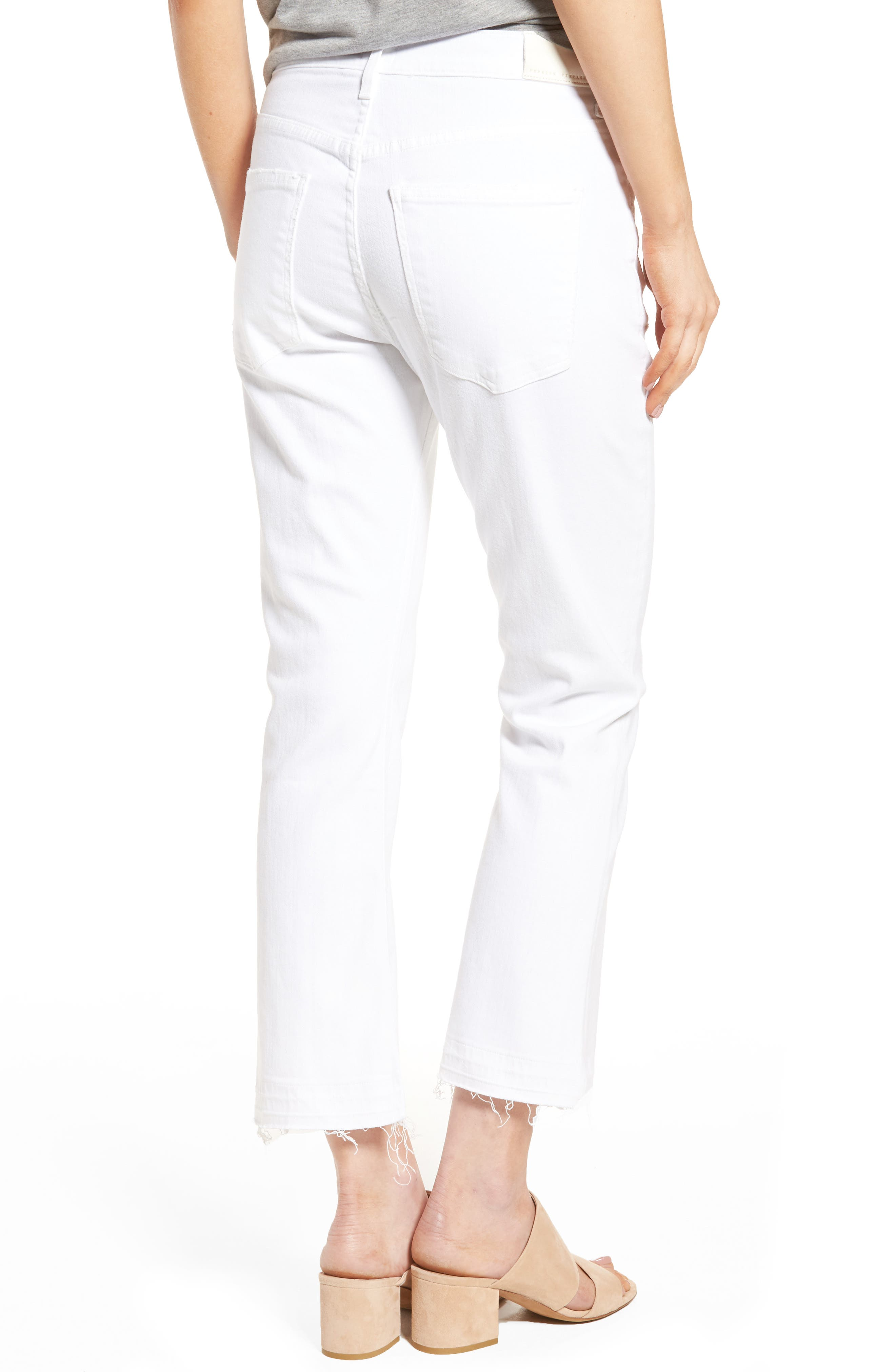 CITIZENS OF HUMANITY, Drew Crop Flare Jeans, Alternate thumbnail 2, color, DISTRESSED WHITE