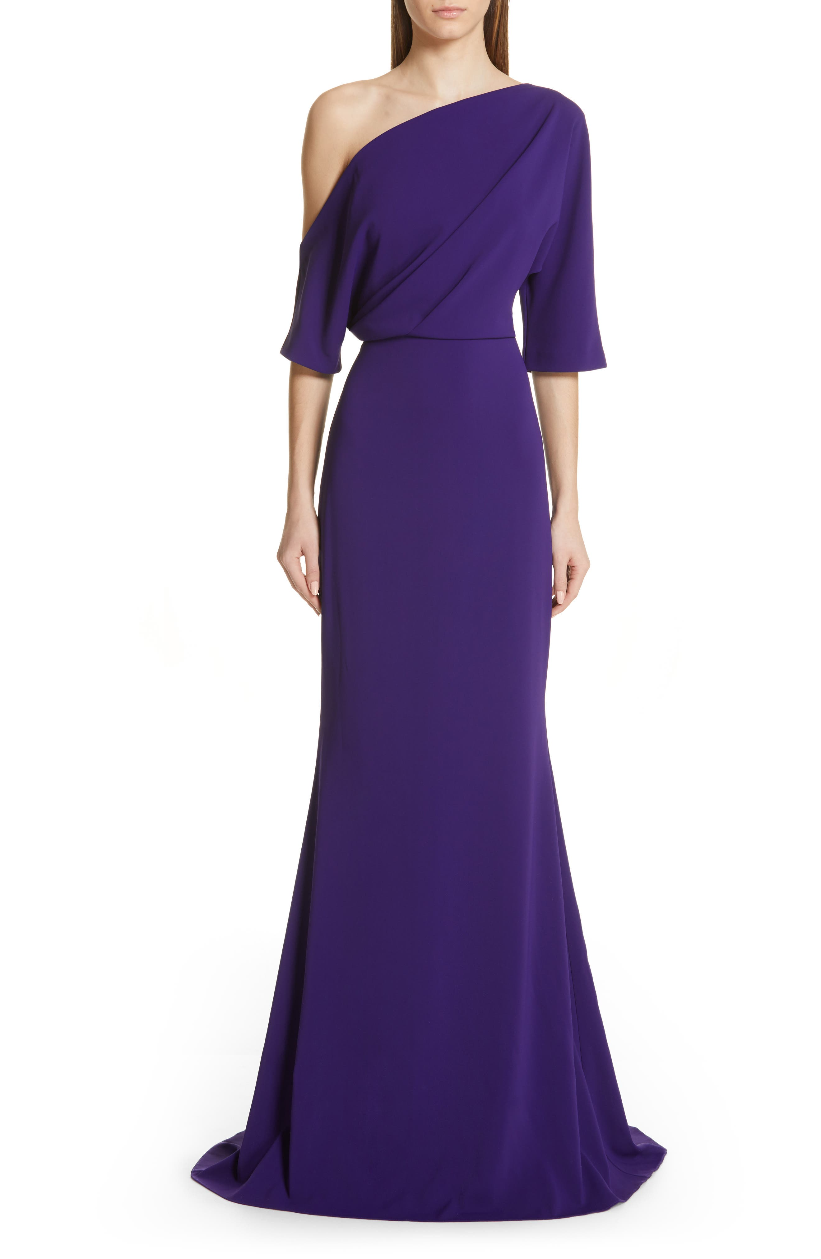 Badgley Mischka One-Shoulder Trumpet Evening Dress, Purple