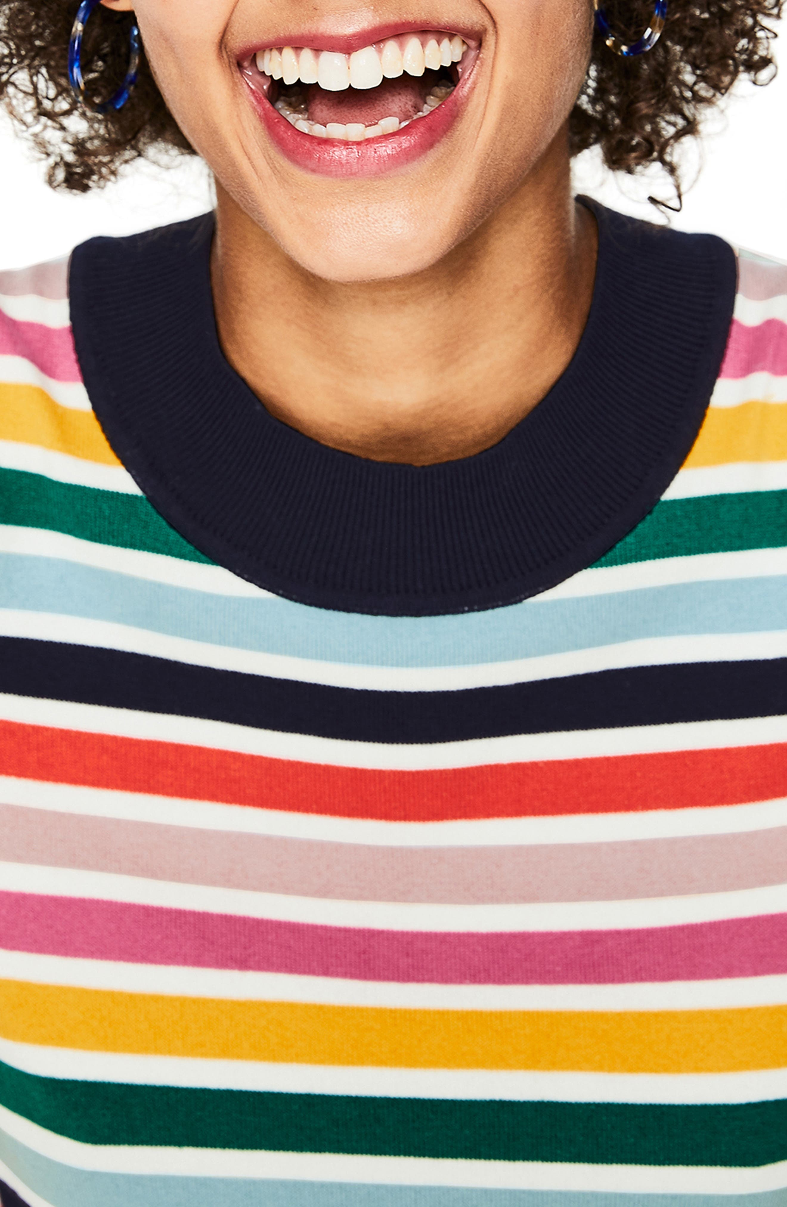 BODEN, Multicolor Knit Tee, Alternate thumbnail 3, color, MULTI STRIPE