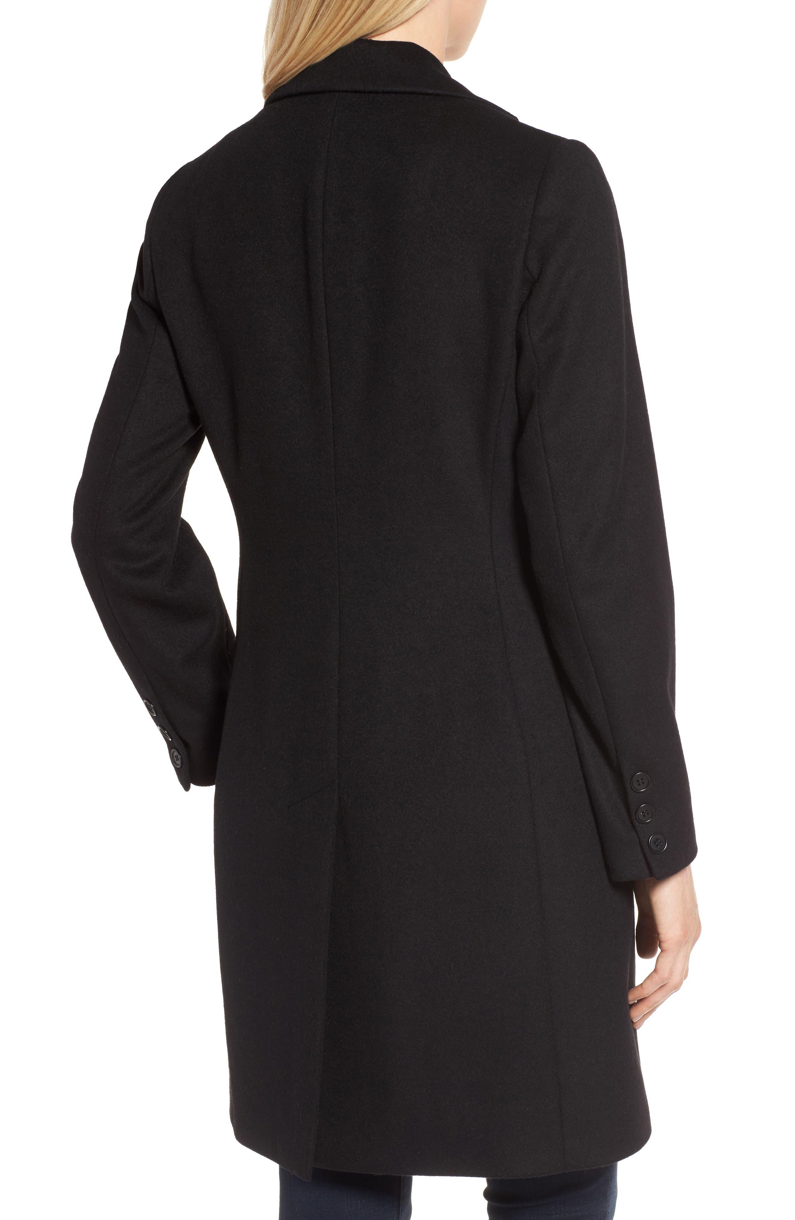 KRISTEN BLAKE, Walking Coat, Alternate thumbnail 2, color, BLACK