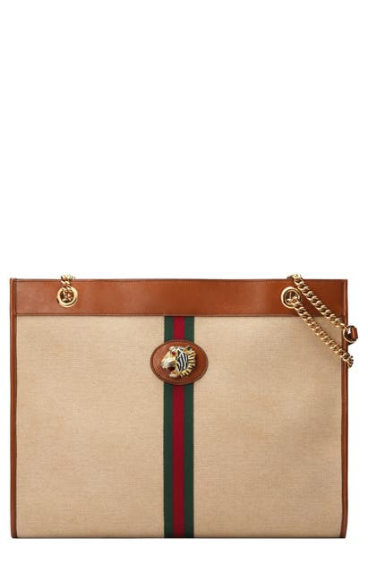 aa84b615612b Gucci Large Rajah Canvas Tote - Beige In Sand/ Cuir/ Vert Red Vert ...