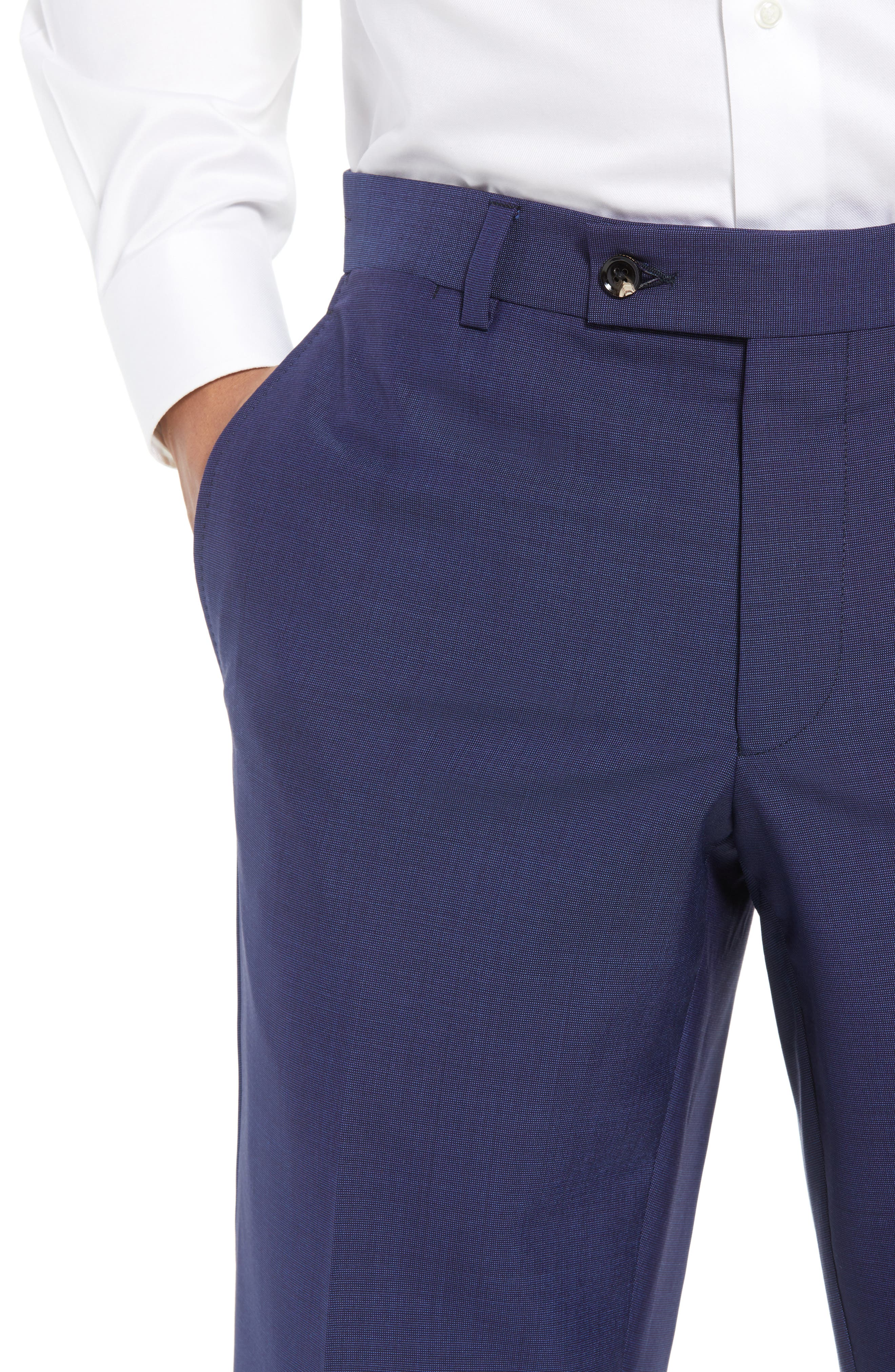 TED BAKER LONDON, Jefferson Flat Front Solid Wool Trousers, Alternate thumbnail 6, color, BLUE