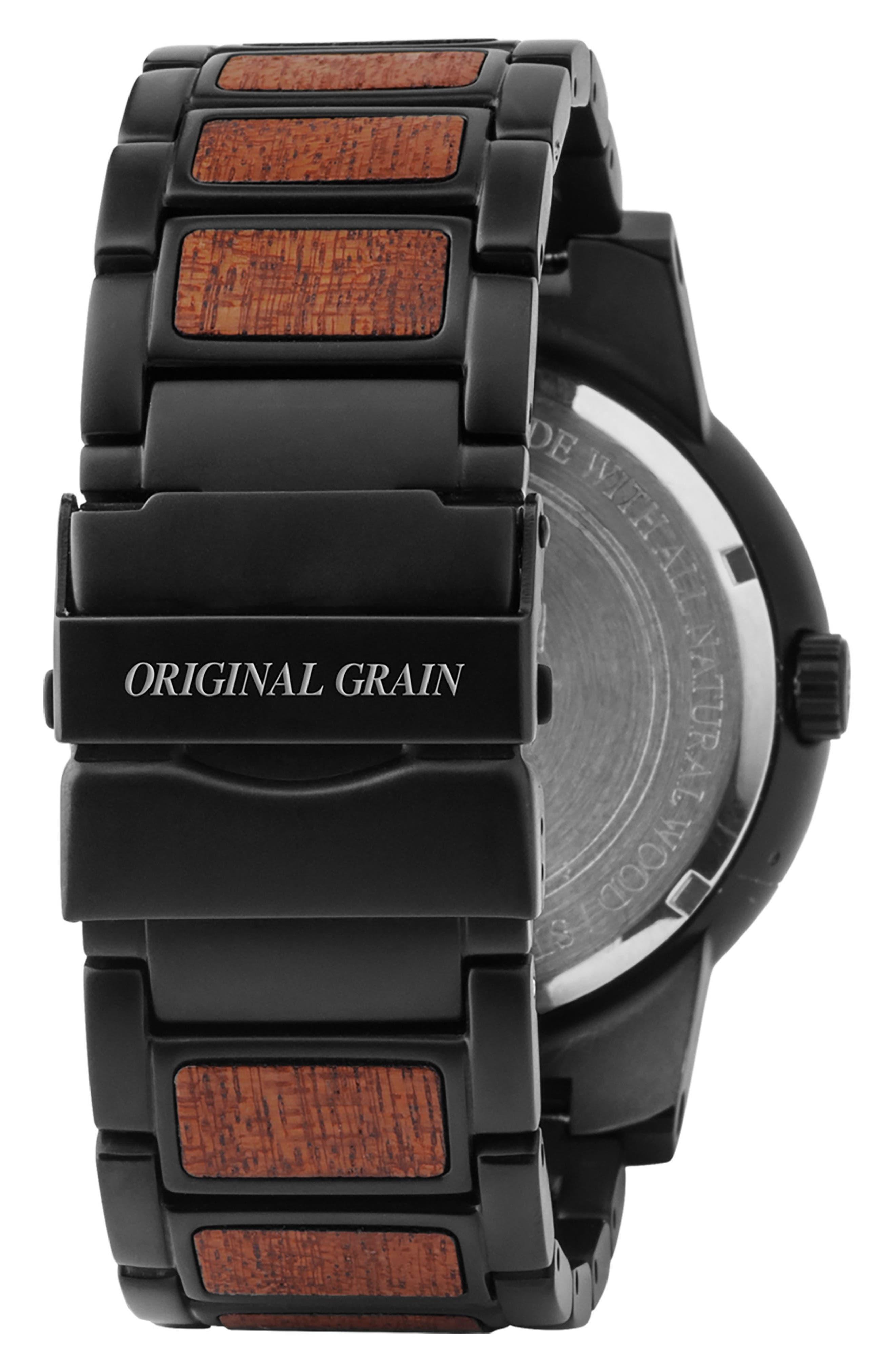 ORIGINAL GRAIN, The Barrel Bracelet Watch, 47mm, Alternate thumbnail 2, color, MATTE BLACK/ SAPELE WOOD