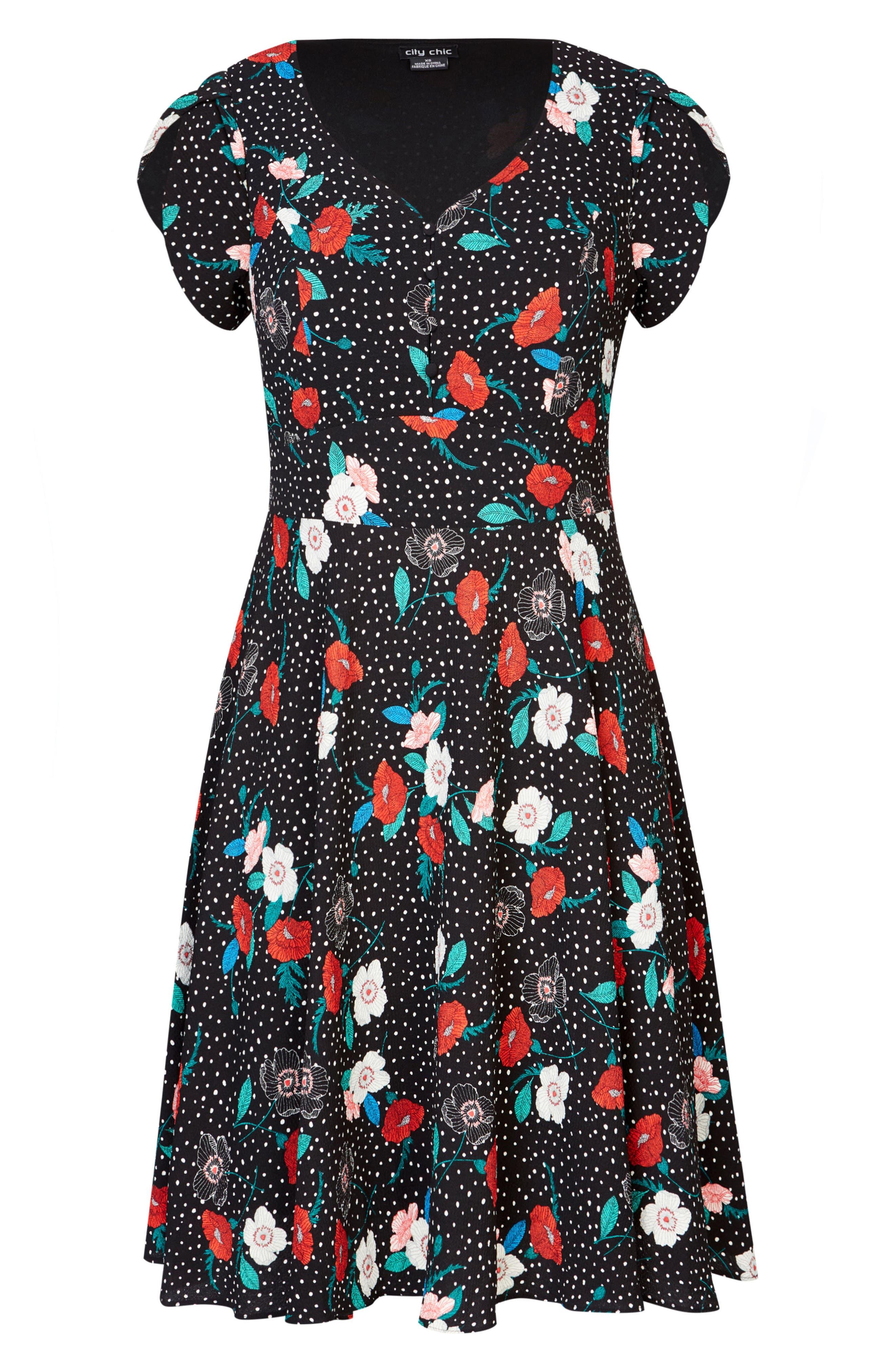 CITY CHIC, Floral Spot Dress, Alternate thumbnail 4, color, SPOT FLORAL