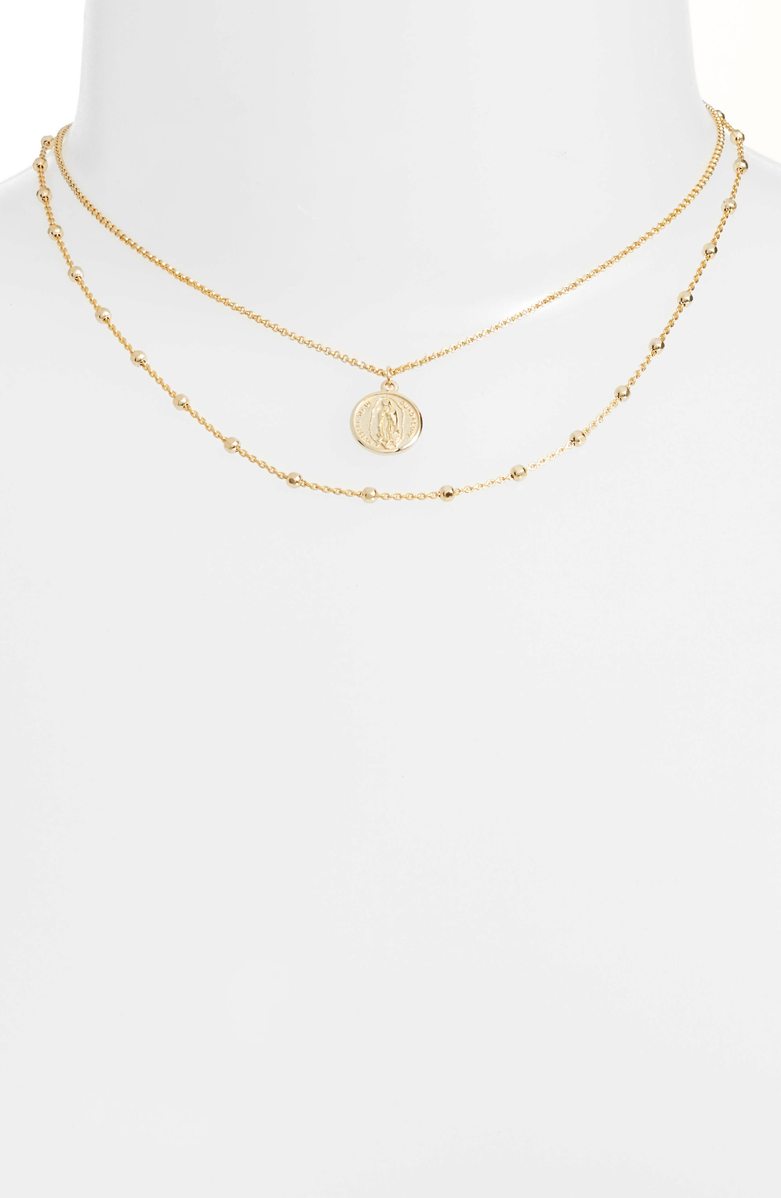 ARGENTO VIVO, Guadalupe Multistrand Necklace, Alternate thumbnail 2, color, GOLD