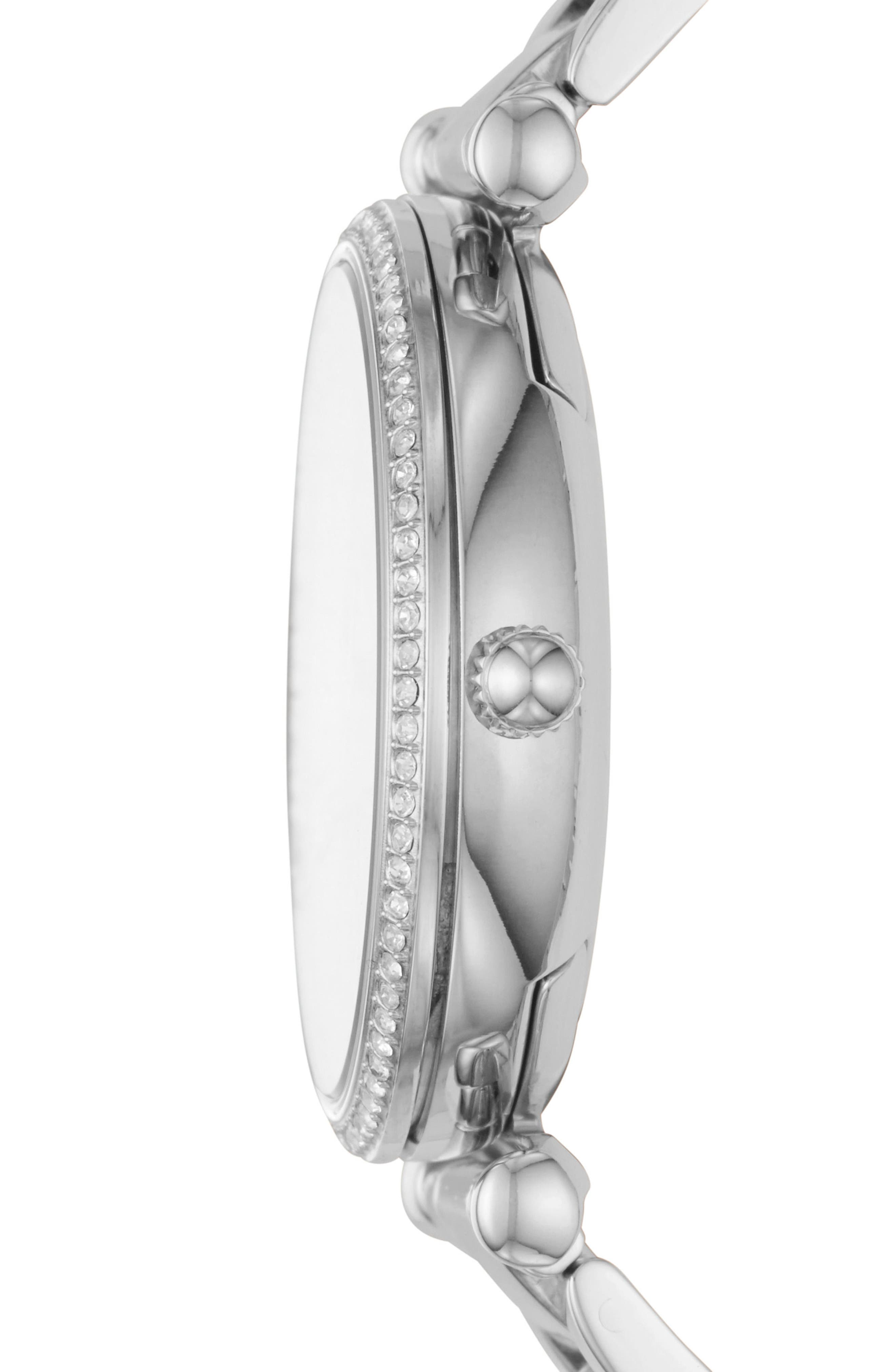 FOSSIL, Carlie T-Bar Crystal Bracelet Watch, 35mm, Alternate thumbnail 2, color, SILVER
