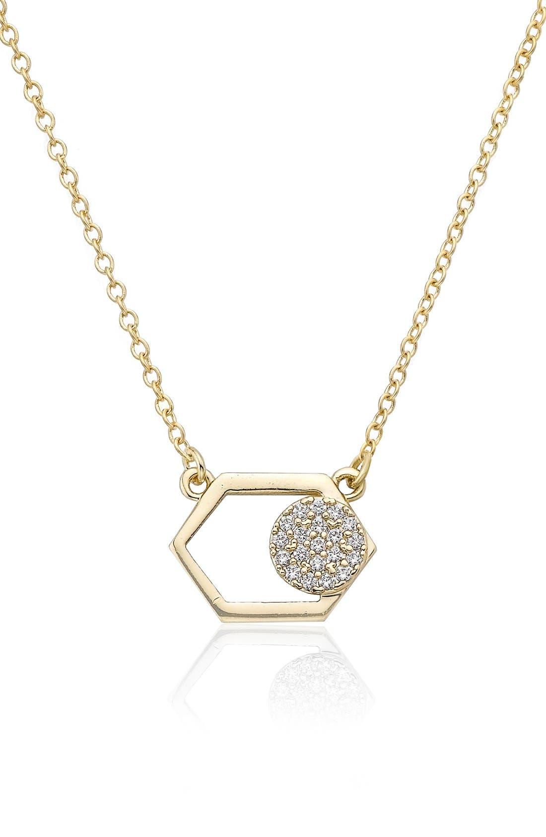 RICCOVA Hexagon & Pavé Circle Pendant Necklace, Main, color, 710