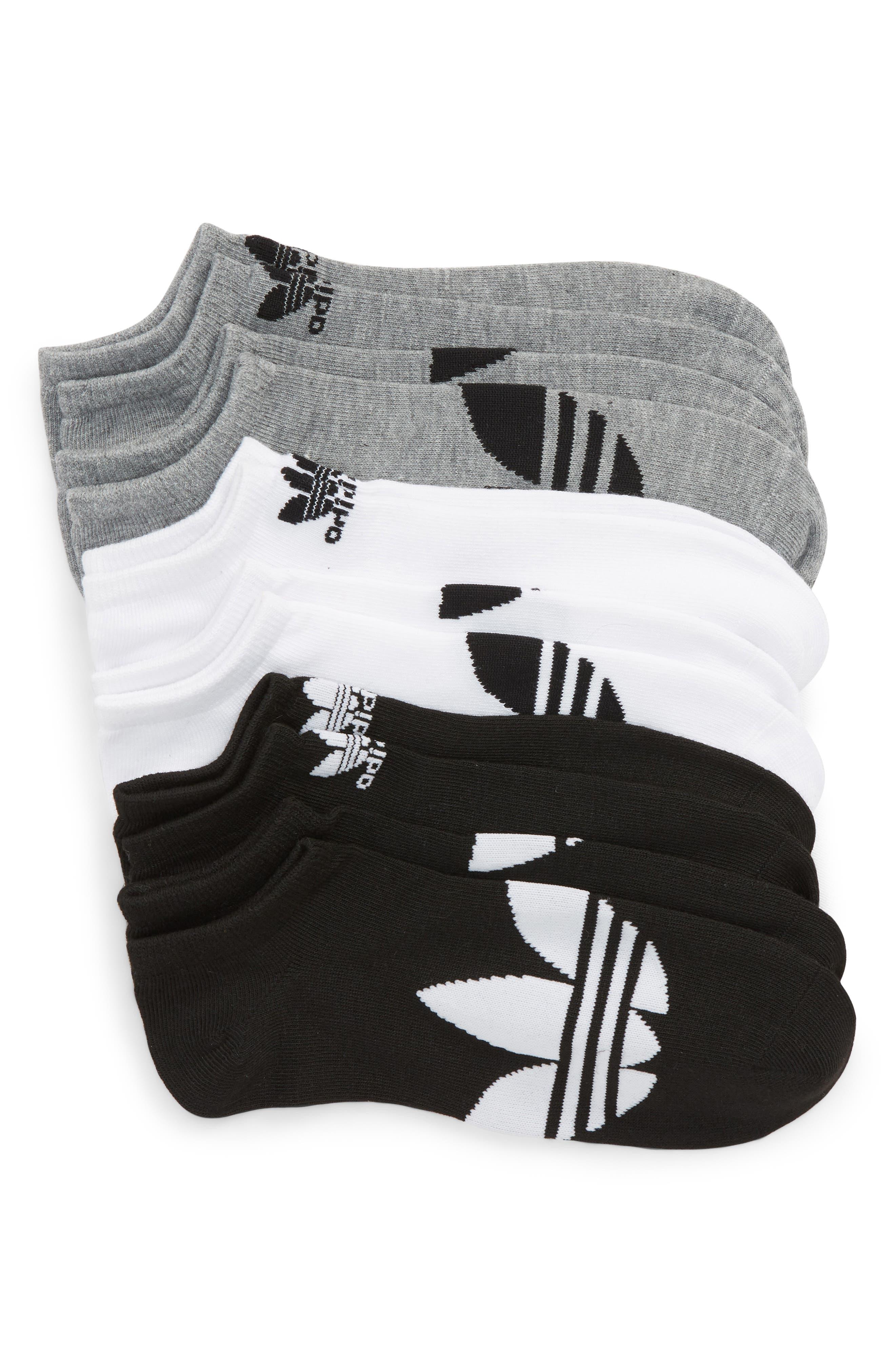 ADIDAS ORIGINALS, 6-Pack No-Show Socks, Main thumbnail 1, color, BLACK/ WHITE/ HEATHER GREY