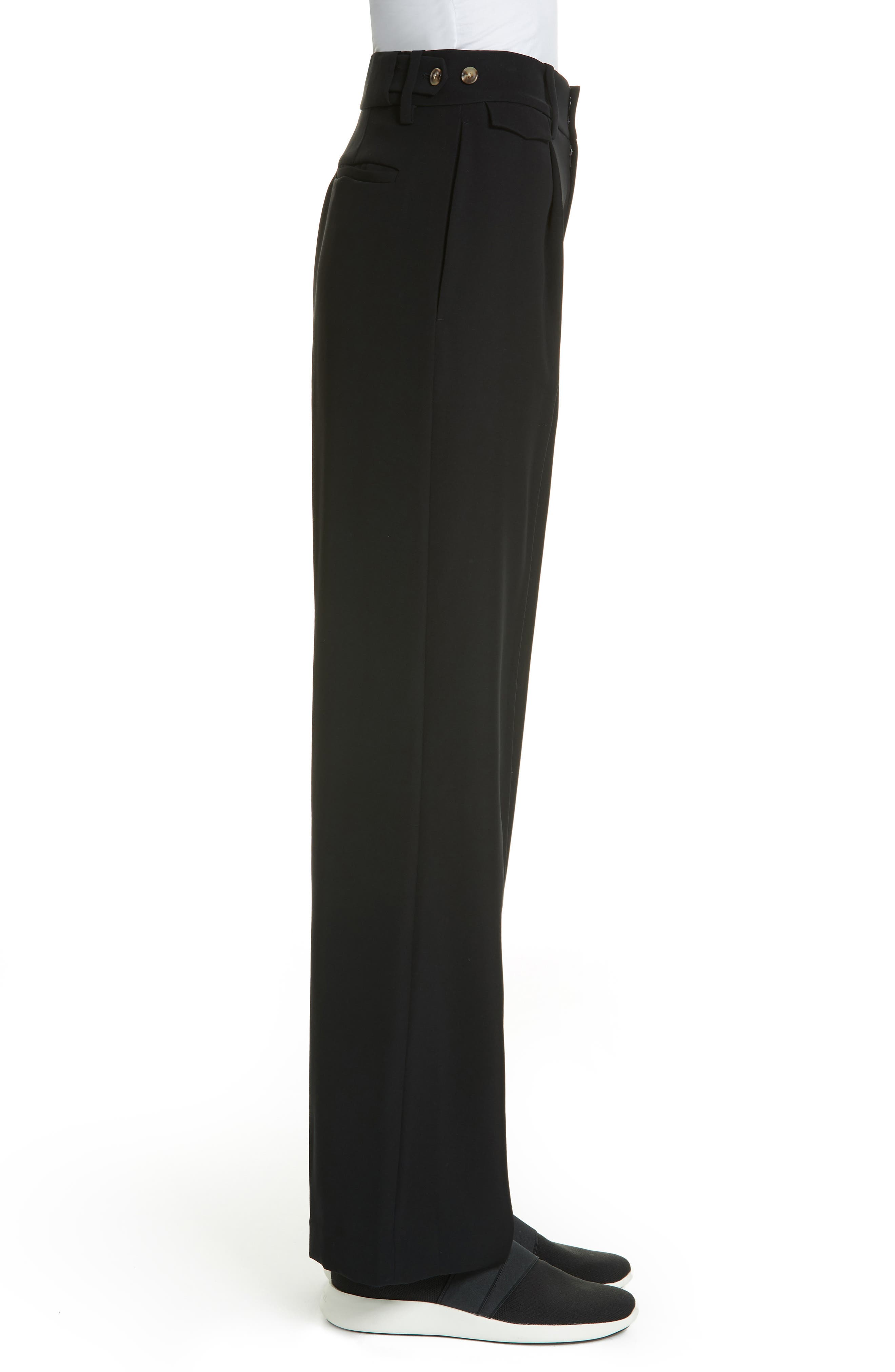 VINCE, Relaxed Wide Leg Trousers, Alternate thumbnail 4, color, BLACK