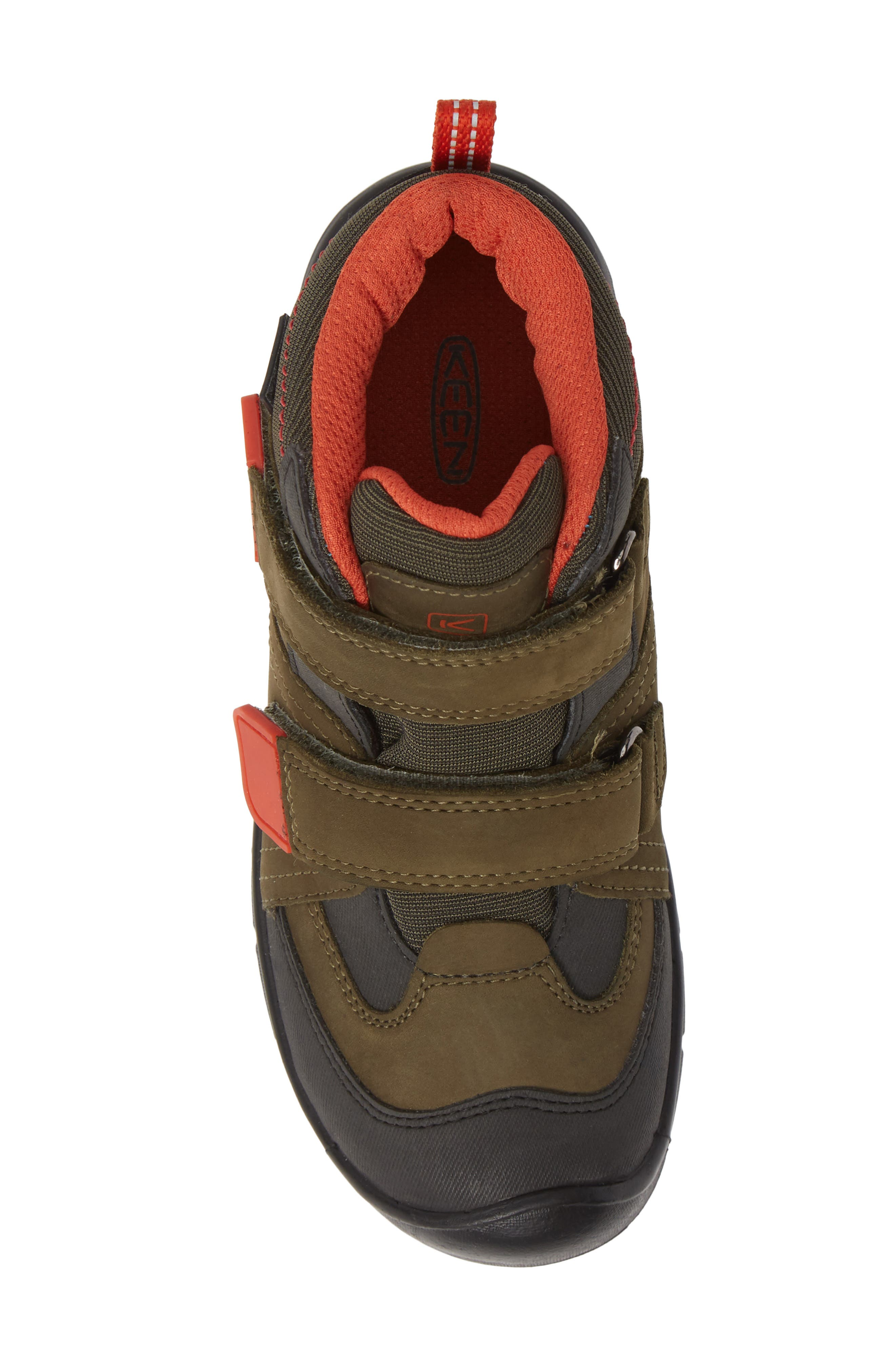 KEEN, Hikeport Strap Waterproof Mid Boot, Alternate thumbnail 5, color, MARTINI OLIVE/ PUMPKIN