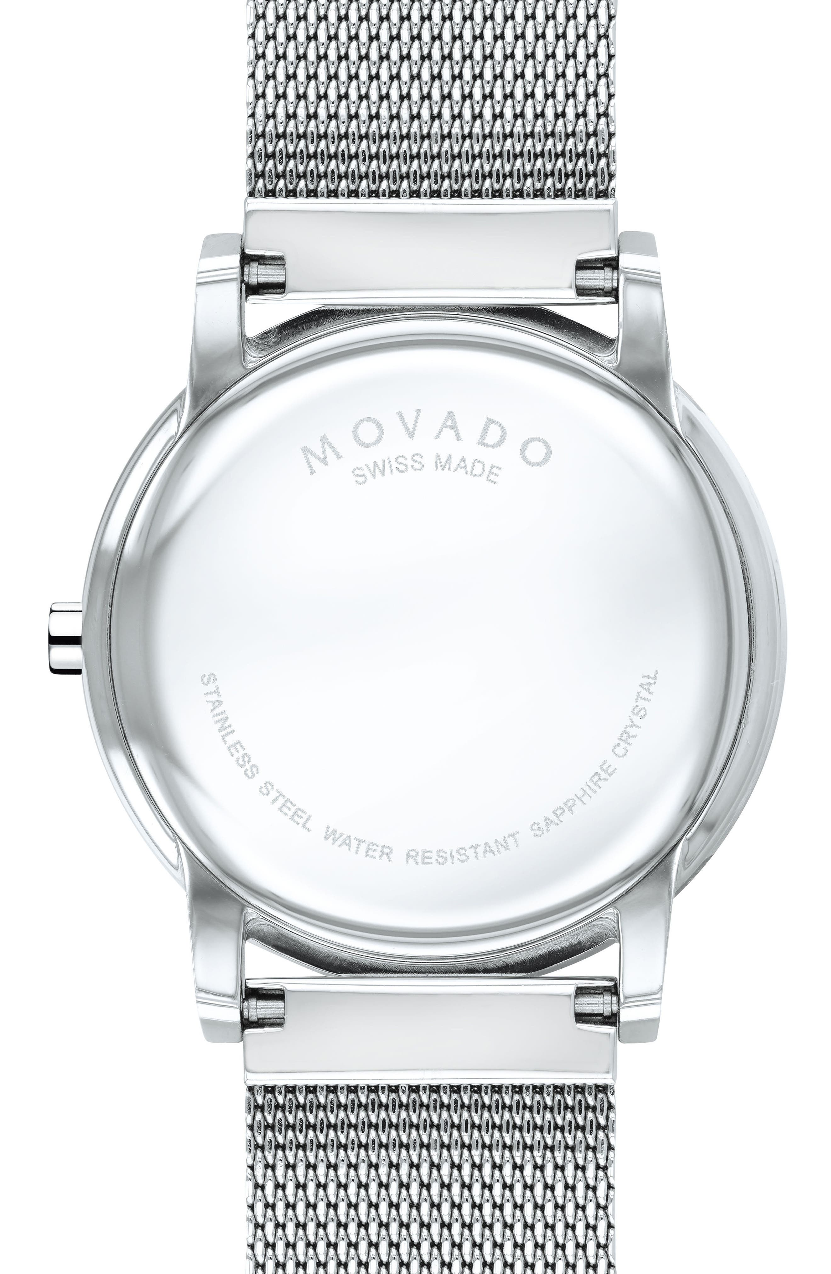 MOVADO, Museum Mesh Strap Watch, 40mm, Alternate thumbnail 2, color, SILVER/ BLACK/ SILVER