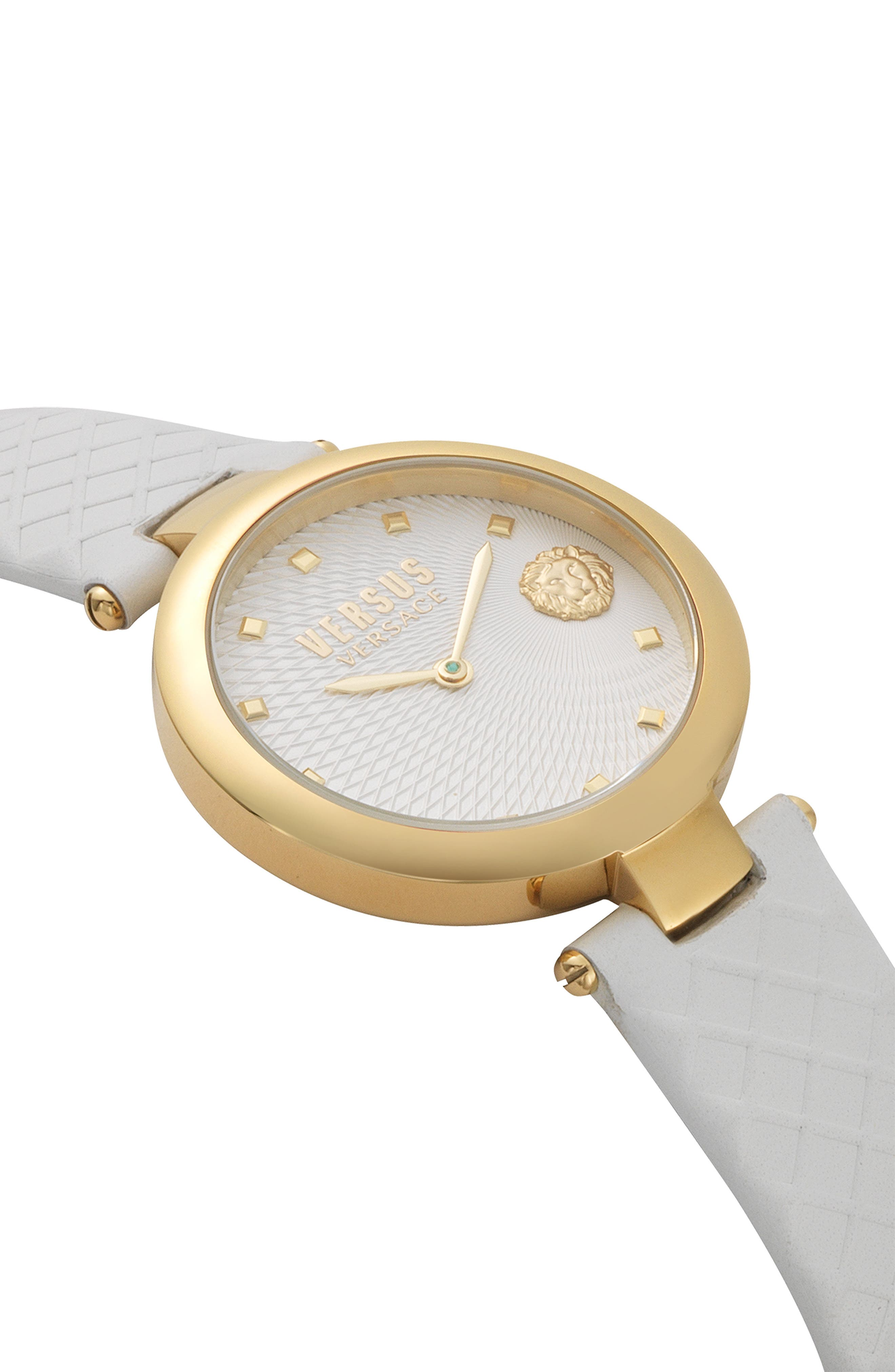 VERSUS VERSACE, Buffle Bay Leather Strap Watch, 36mm, Alternate thumbnail 3, color, WHITE/ GOLD