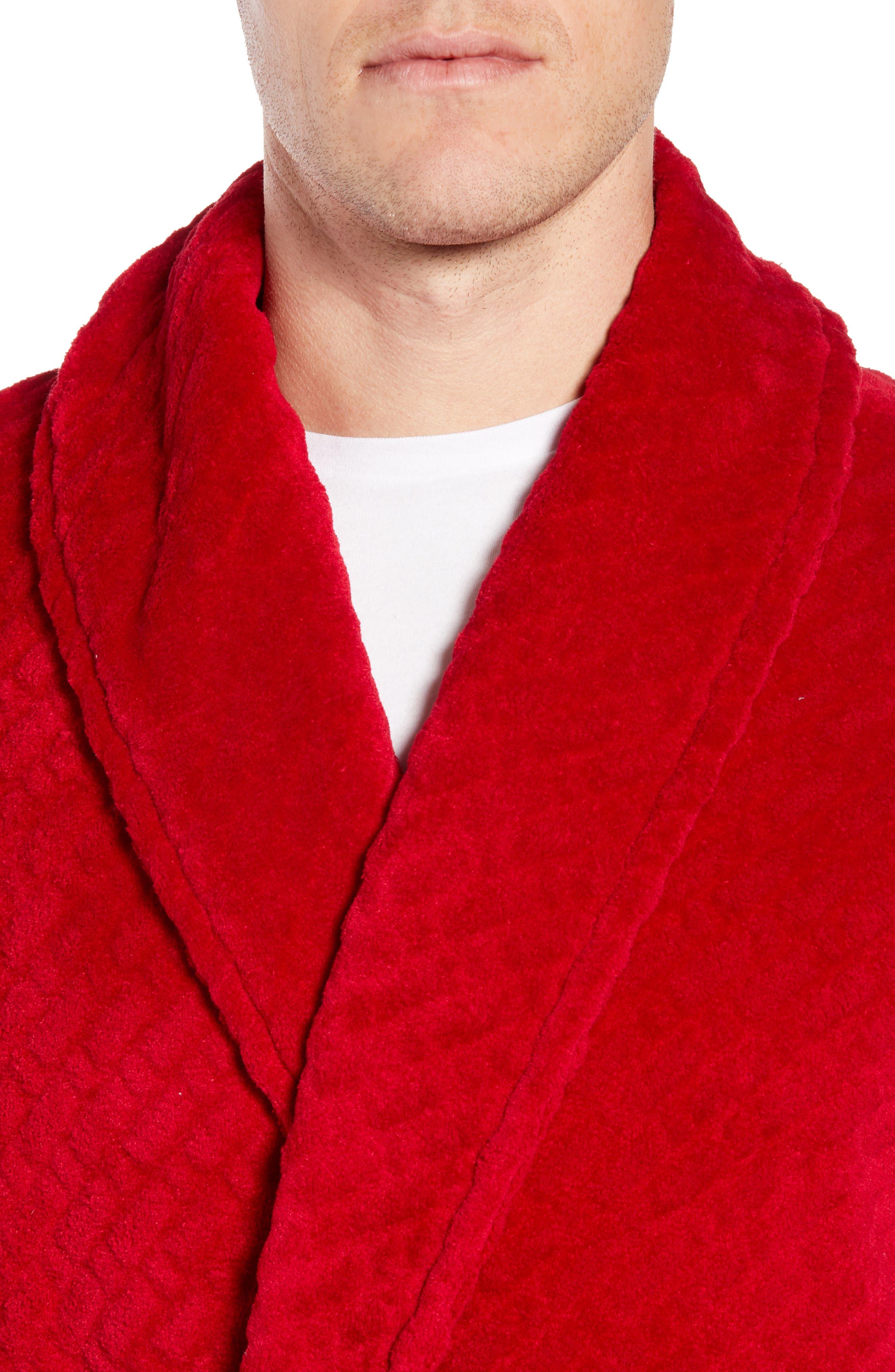 MAJESTIC INTERNATIONAL, Fireside Fleece Robe, Alternate thumbnail 4, color, RED RIBBON
