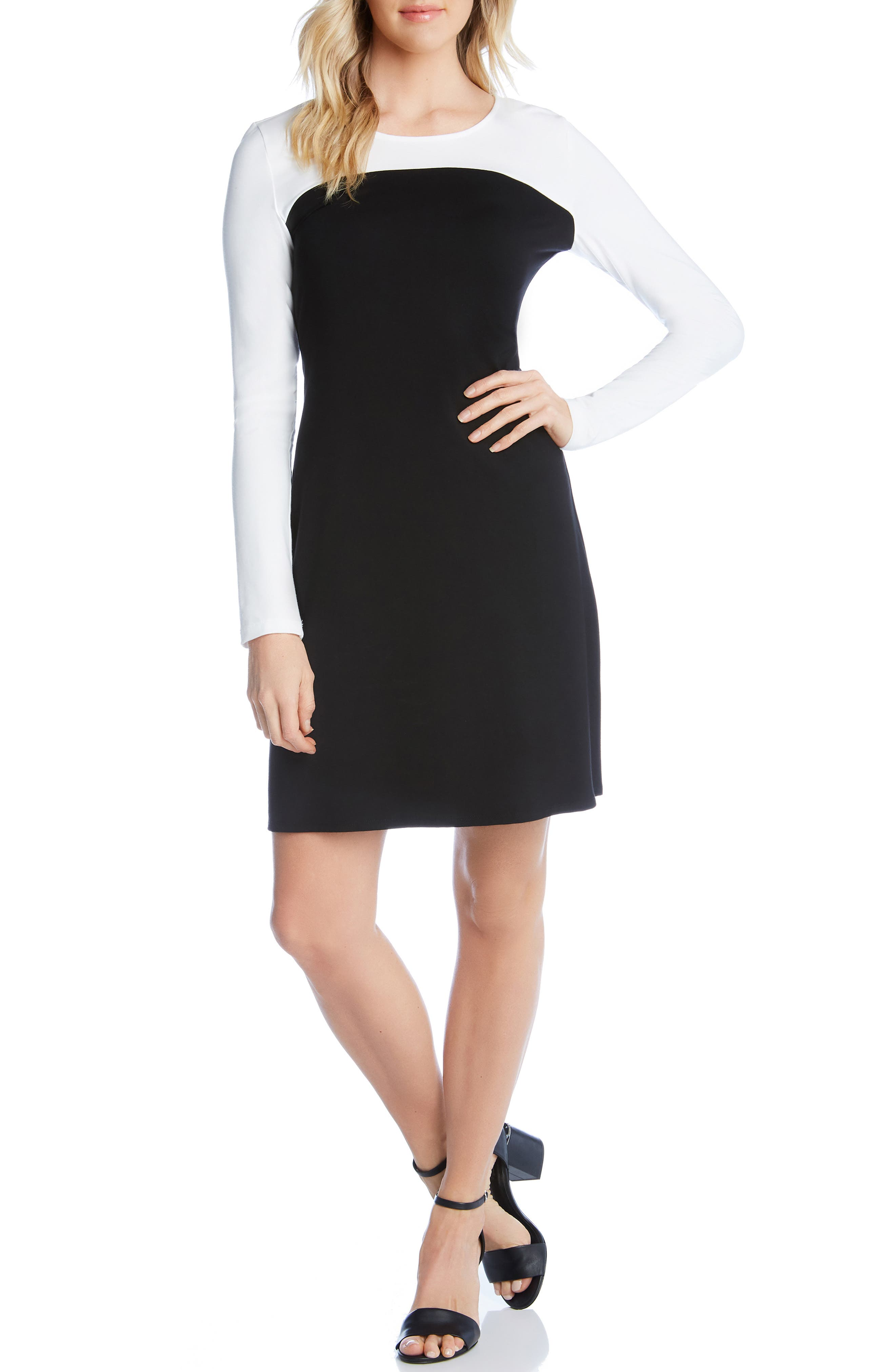 KAREN KANE, Colorblock Sheath Dress, Alternate thumbnail 4, color, BLACK WITH OFF WHITE