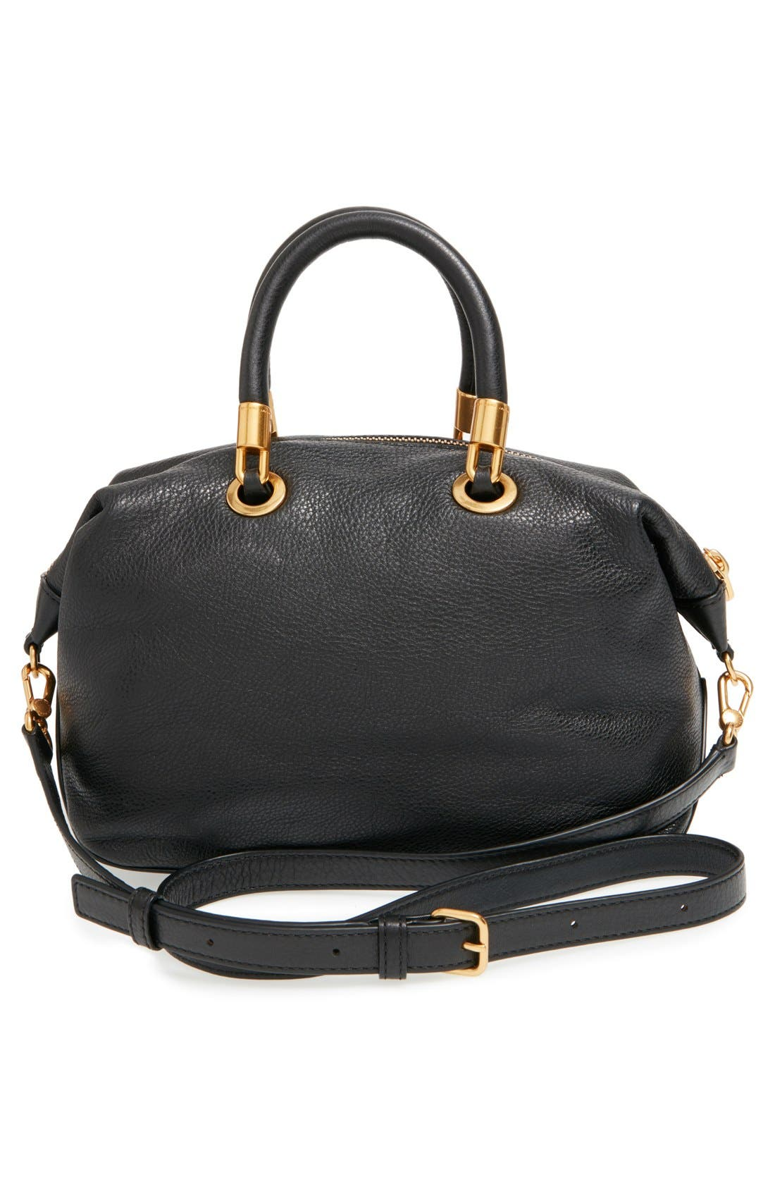 MARC JACOBS, MARC BY MARC JACOBS 'New Too Hot to Handle' Leather Satchel, Alternate thumbnail 6, color, 001